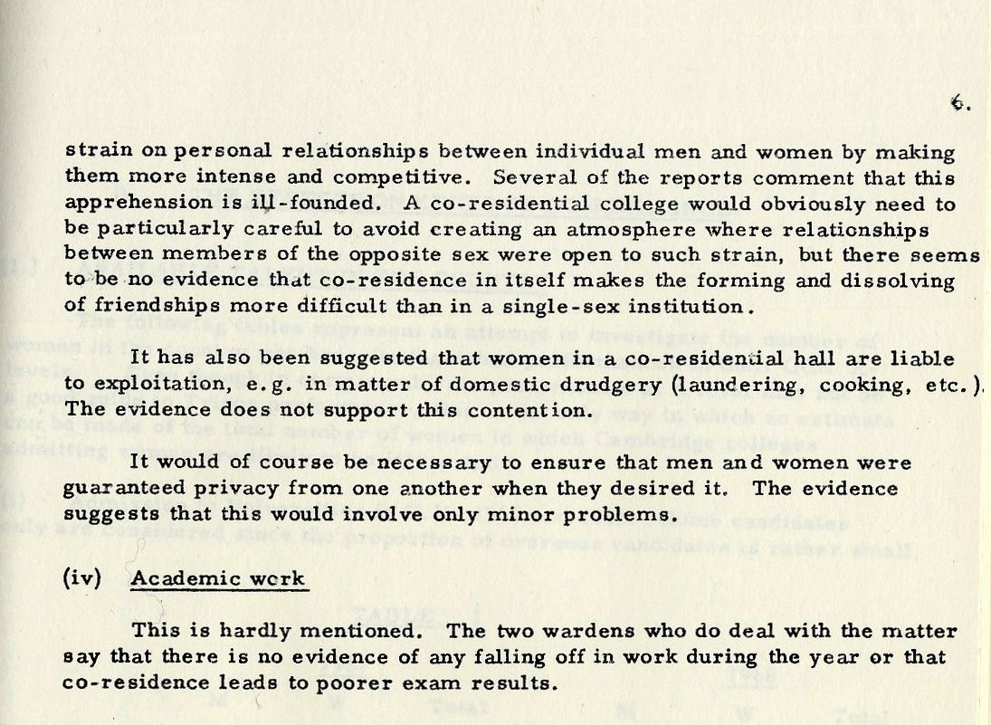 Subcommittee report to the Fellows, May 1969. Section A(2)(iii) on Personal Relationships. 'Apprehension is often expressed that co-residence will place a severe [strain on personal relationships]'' [KCGB/4/1/1/22]