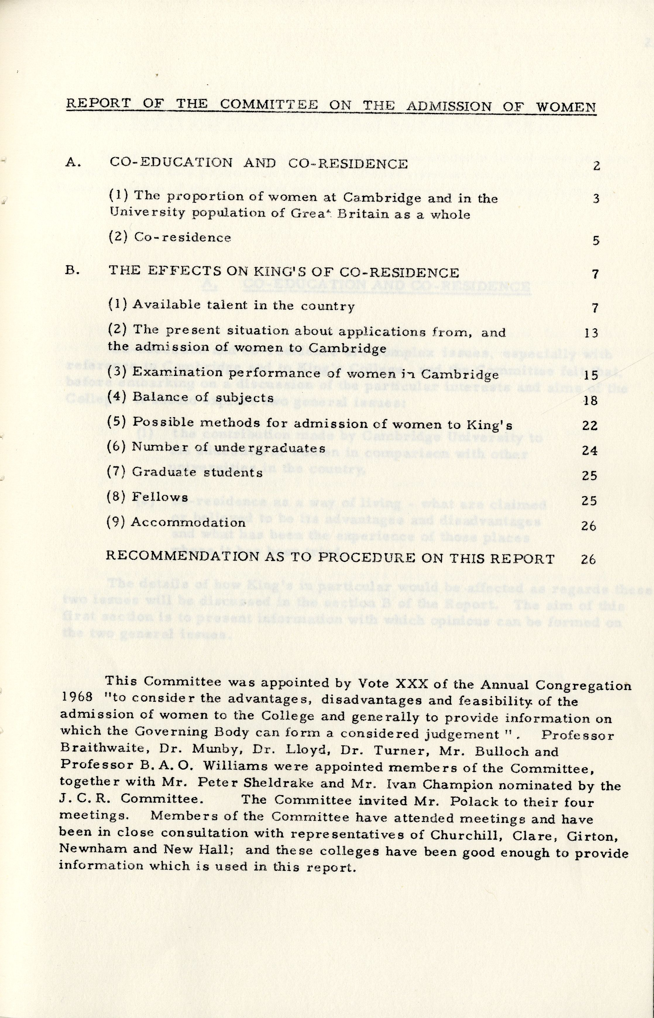 Subcommittee report to the Fellows, May 1969. Contents. [KCGB/4/1/1/22]