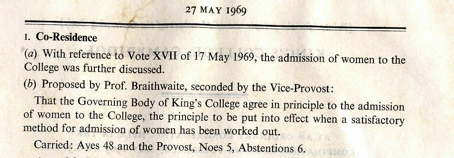 Governing Body vote on Provost Leach's option to 'adopt a policy of delay and see what happens in Clare and Churchill', 27 May 1969. [KCGB/4/1/1/22]