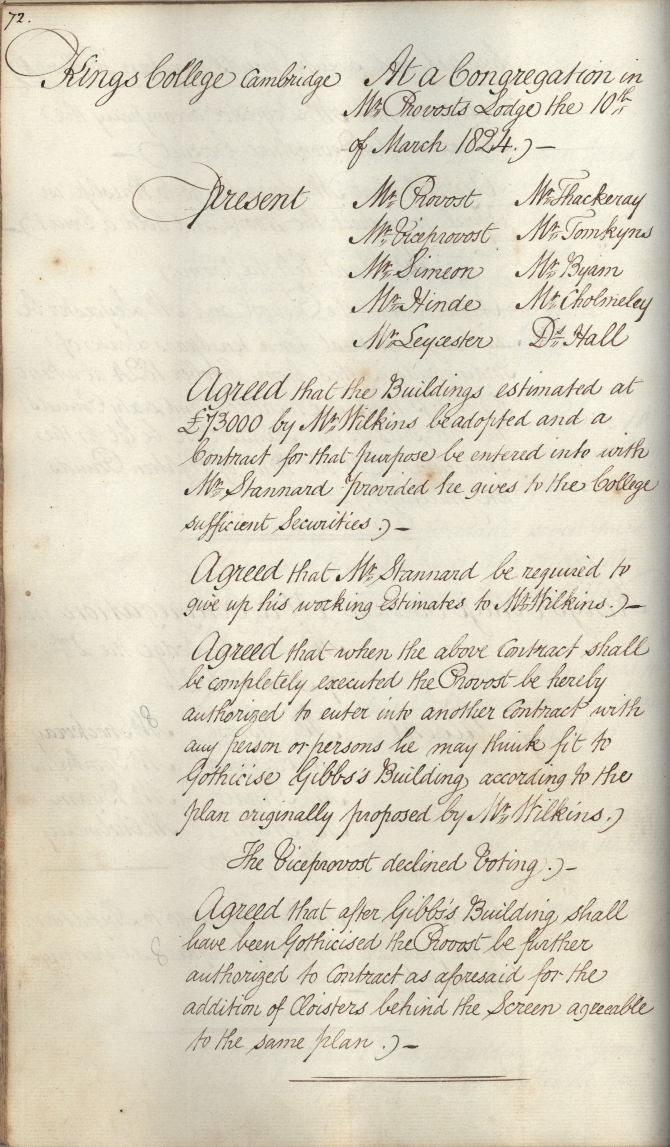 Agreement to Gothicise the Gibbs building (not carried out), Congregation minutes, 10 March 1824. [KCGB/4/1/1/4]
