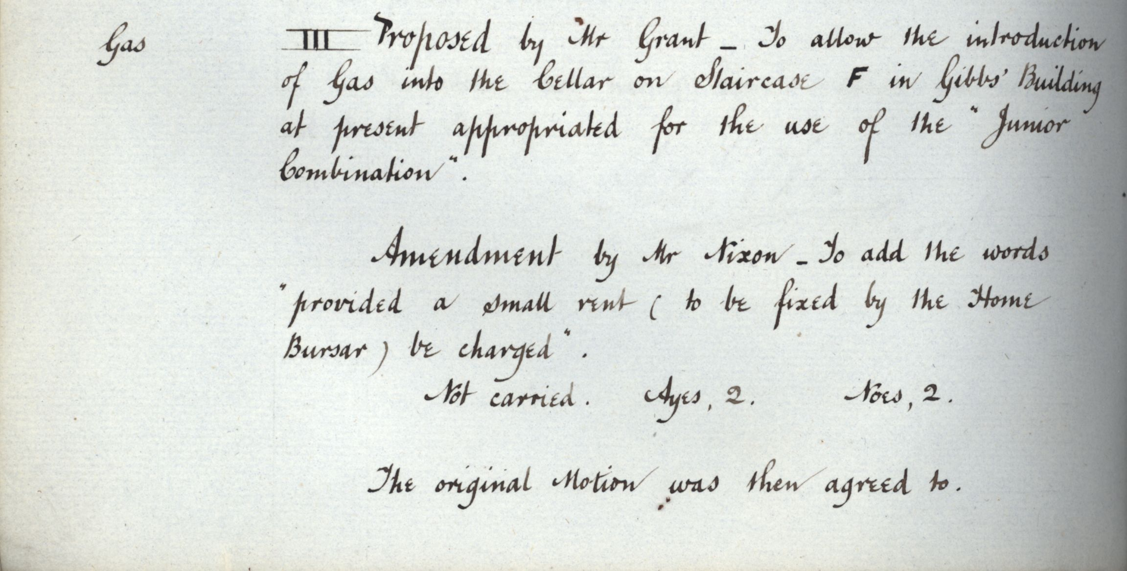 Agreement to introduce gas into the cellar of staircase F of the Gibbs building, Congregation minutes, 24 February 1881. [KCGB/4/1/1/8]