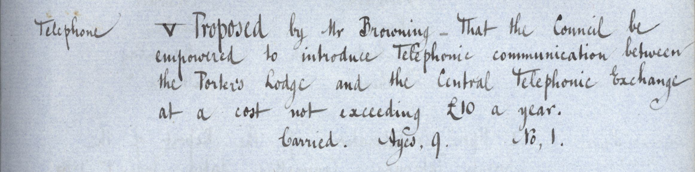 Agreement that the Council be empowered to introduce telephonic communication, Congregation minutes, 5 June 1886. [KCGB/4/1/1/9]