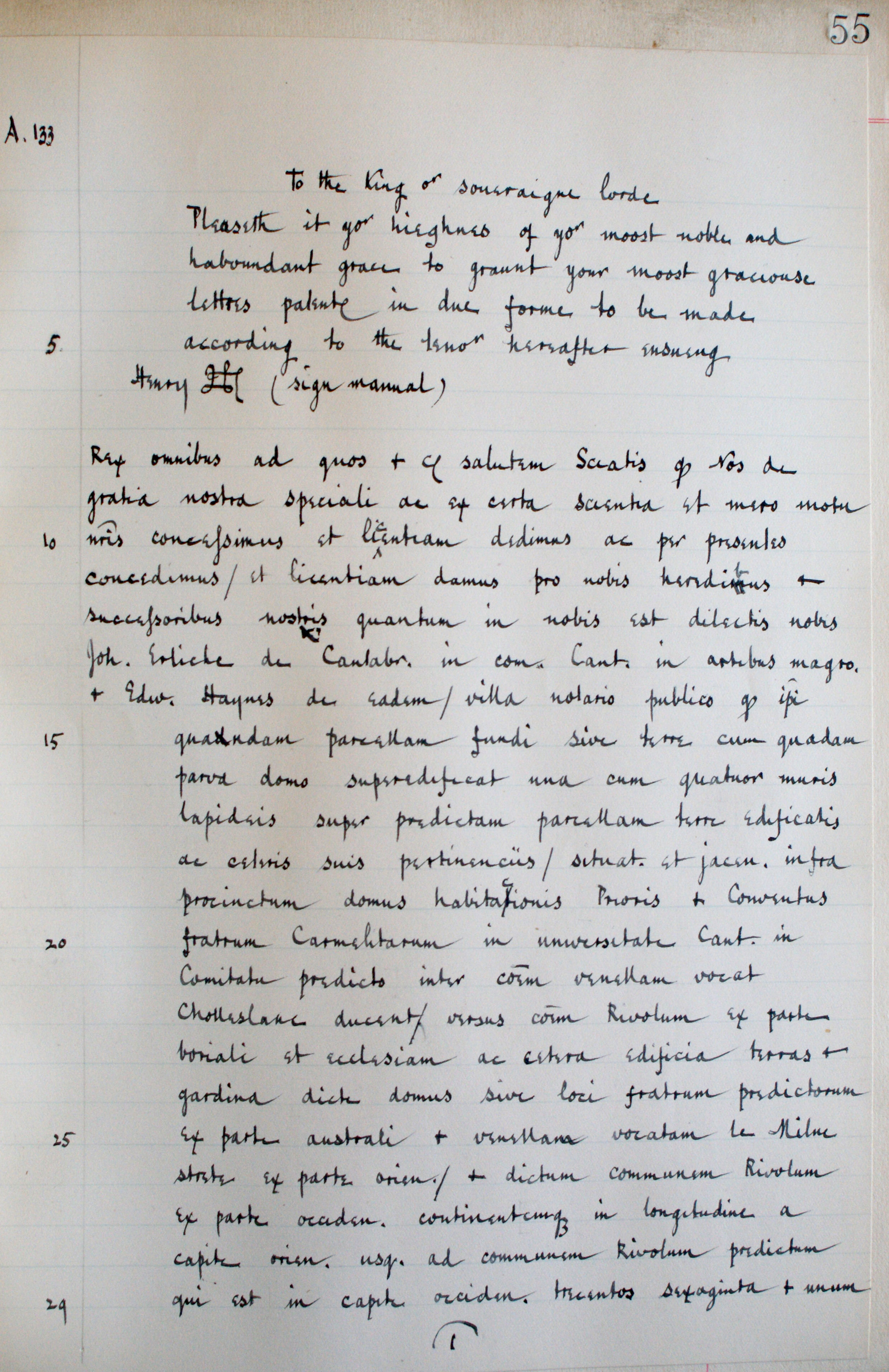 First page of Clarke's transcription of the same petition to Henry VIII, c.1918. (KCHR/3/1/16)