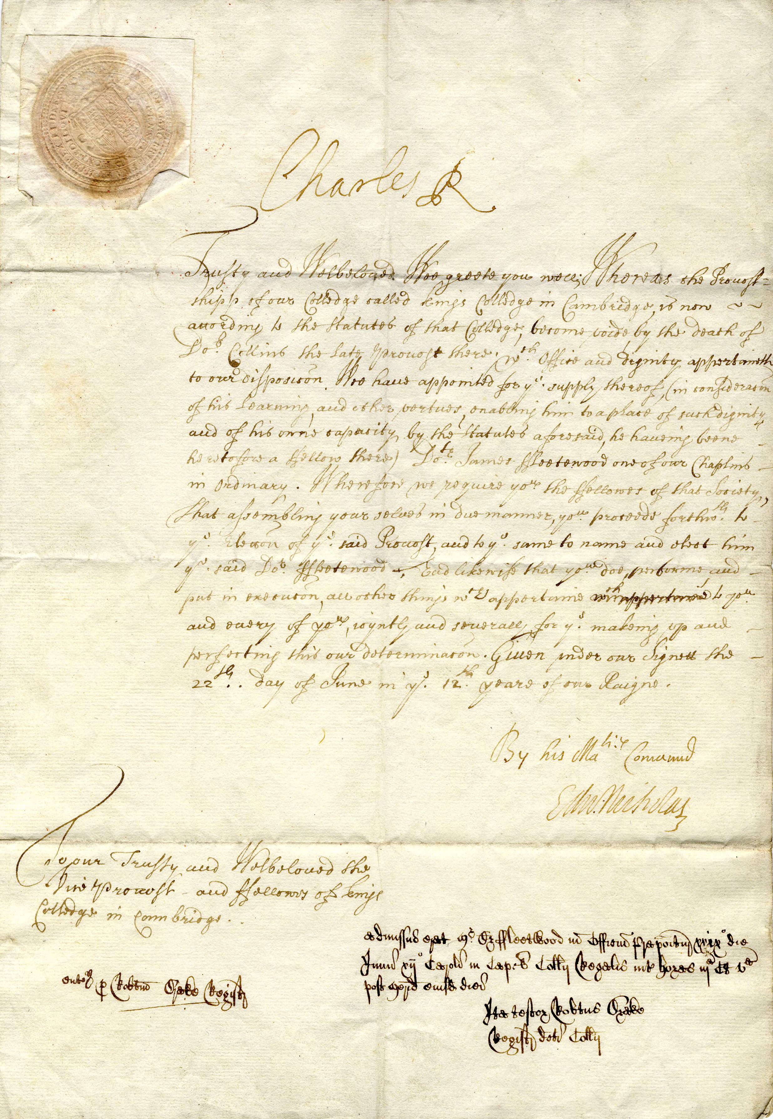 Letter signed by Charles II nominating James Fleetwood in 1660 (KCP/22)