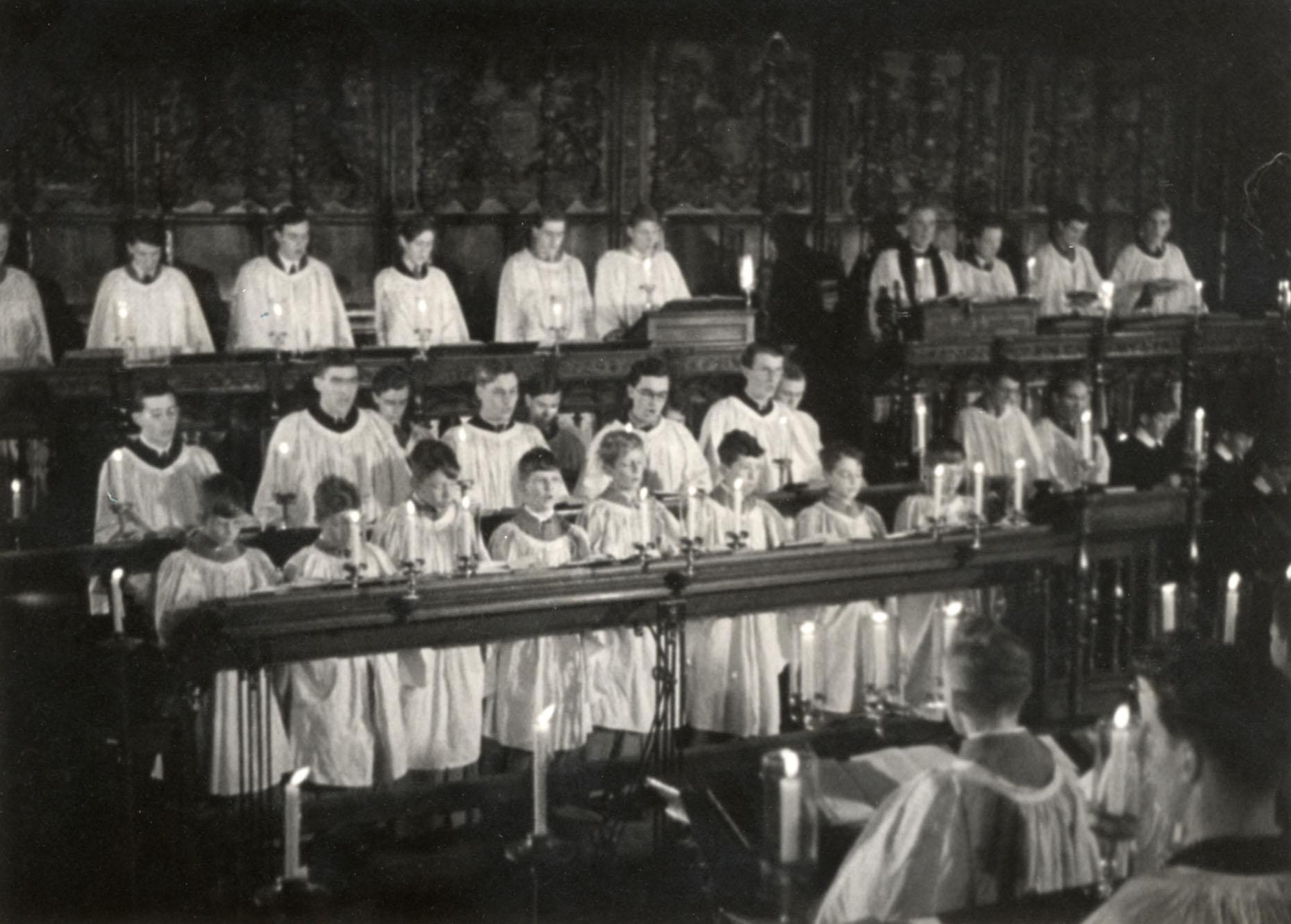 Still of choristers singing, taken from 'Christmas Under Fire', November 1940. (KCPH/2/16/2)