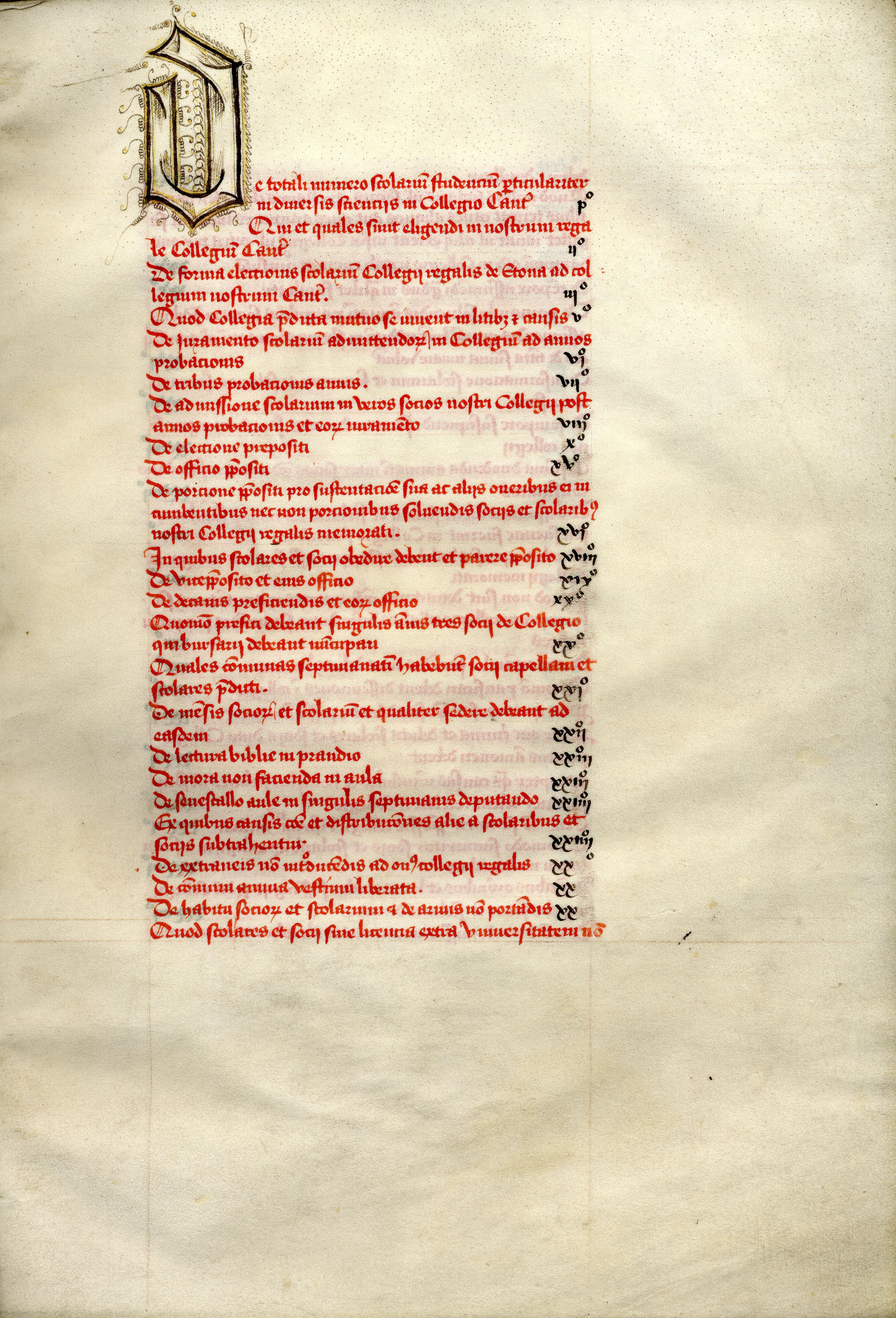 Part of the contents of the Founder's Statutes, 1450 (KCS/9)