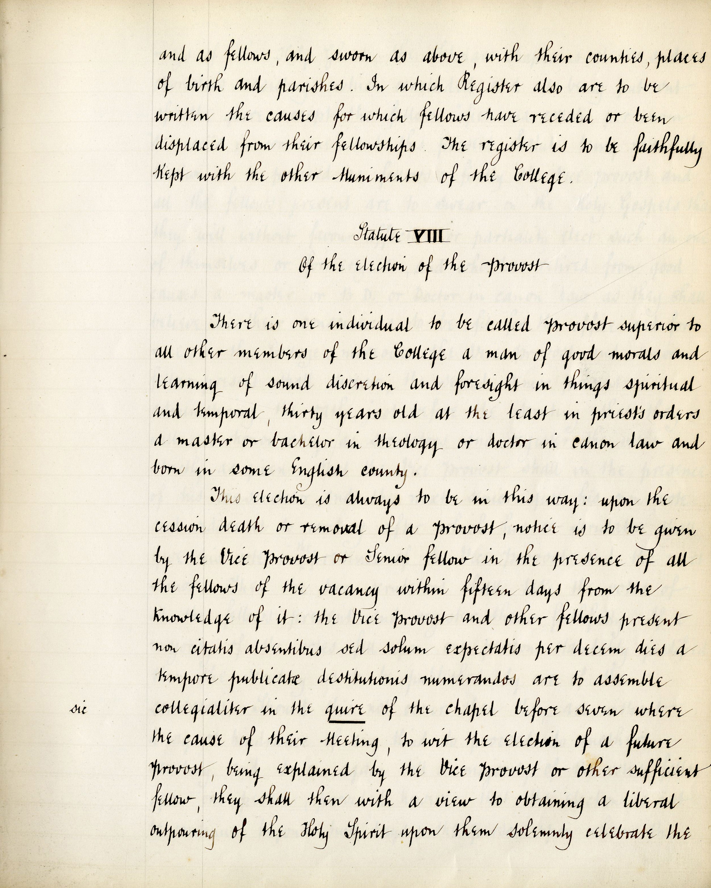 First page of Founder's Statute VIII . Translated by the Bursar T. Brocklebank (KCS/69)