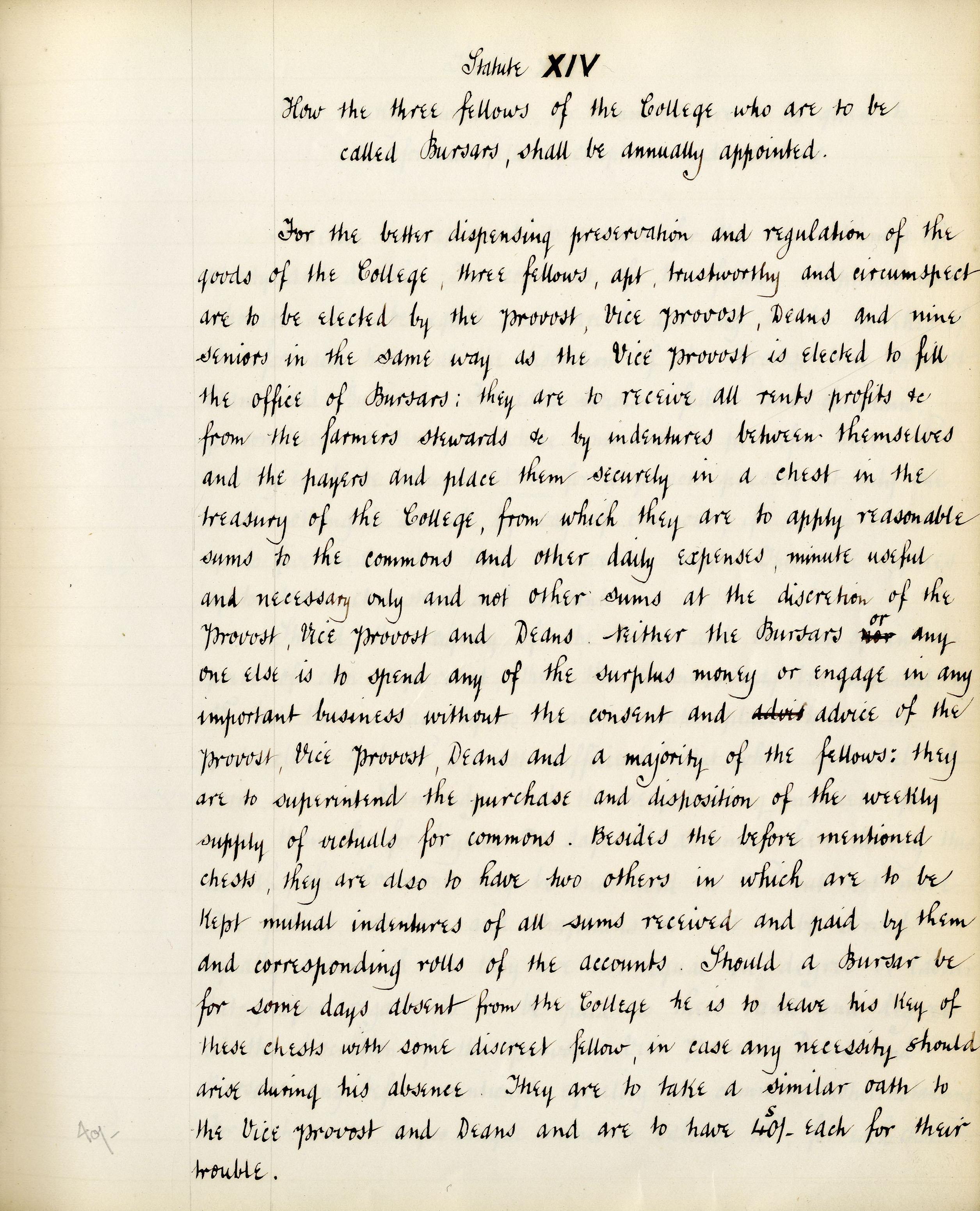 Founder's statute XIV, translated by T. Brocklebank (transcribed by F.L.Clarke) (KCS/69)