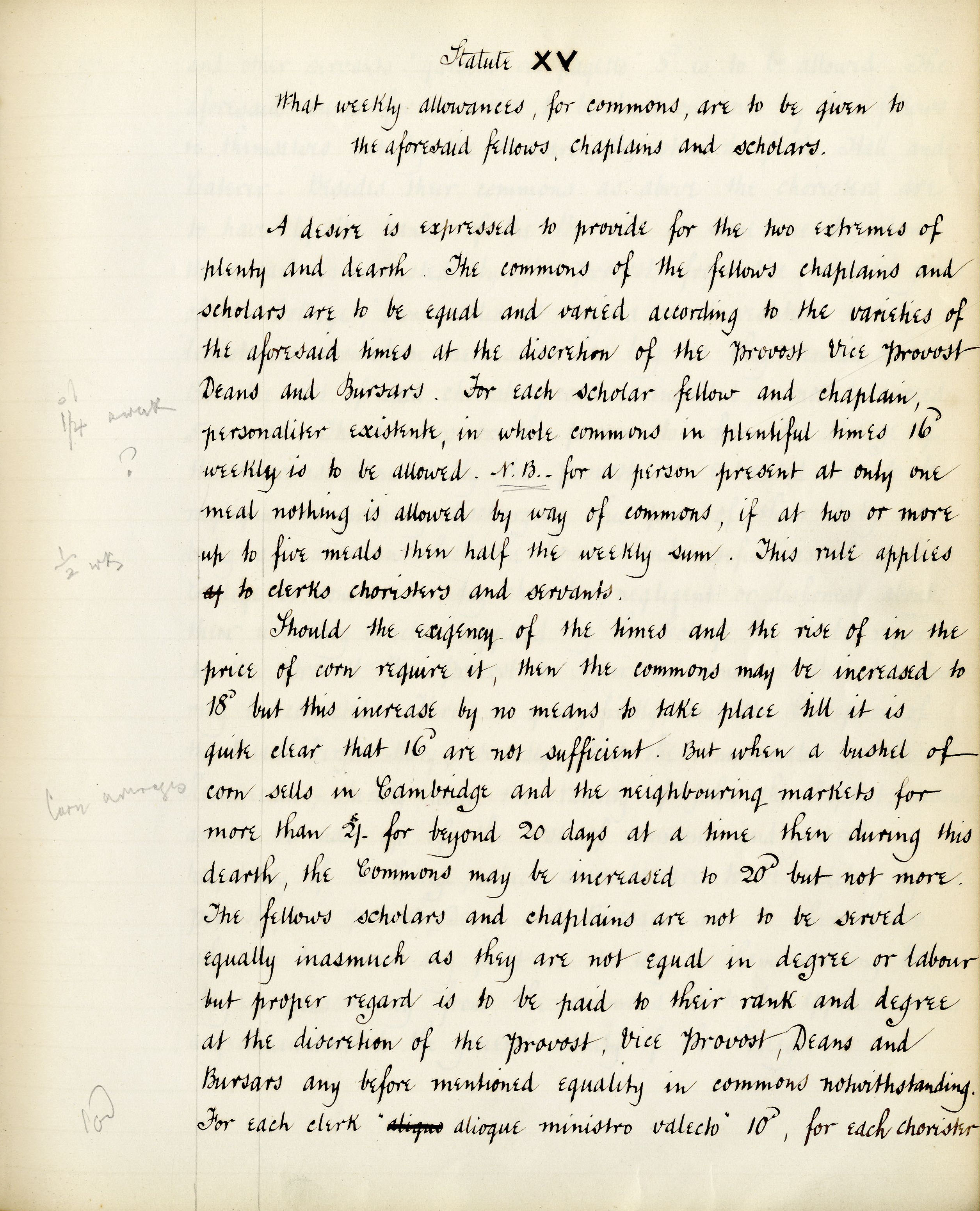 First page of Founder's statute XV, translated by T. Brocklebank (transcribed by F.L.Clarke) (KCS/69)