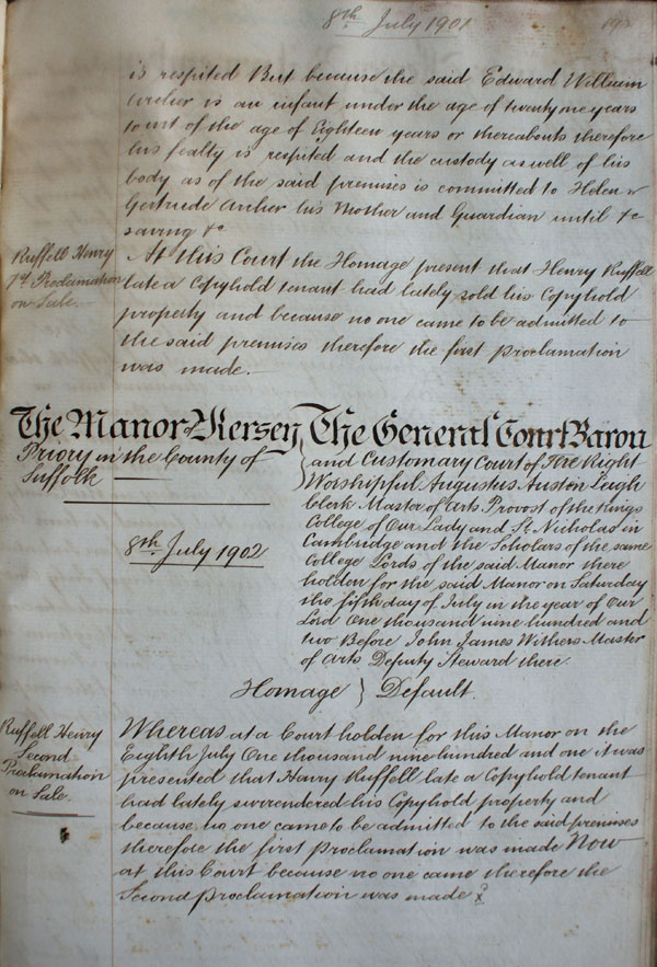 Third page of admission of Edward William Archer. (KER/904)