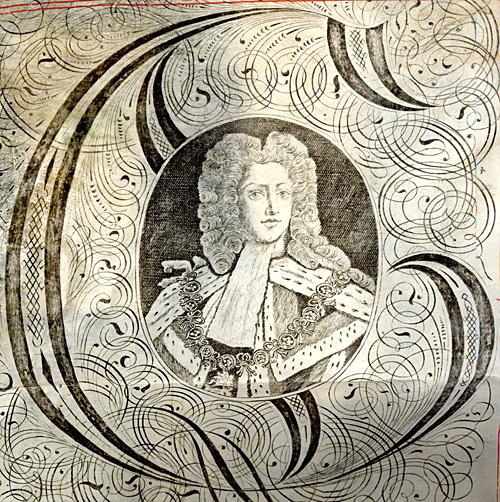 Miniature portrait of George III on a Royal Exemplification, 1781 (KUT/20)
