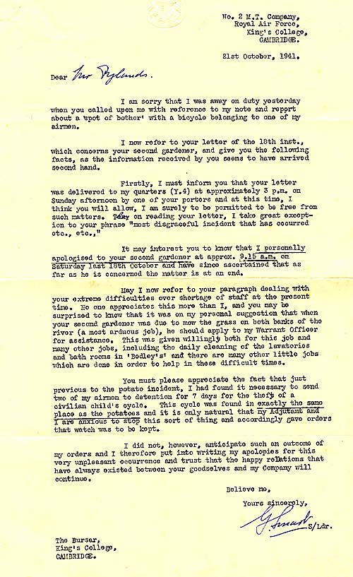 Letter to the Bursar G.H.W. Rylands from RAF Squadron leader about thefts within the College