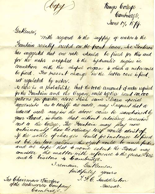 Letter from 3rd Bursar, T Huddleston, to the Cambridge Waterworks Co. 1879 (FRO/9)