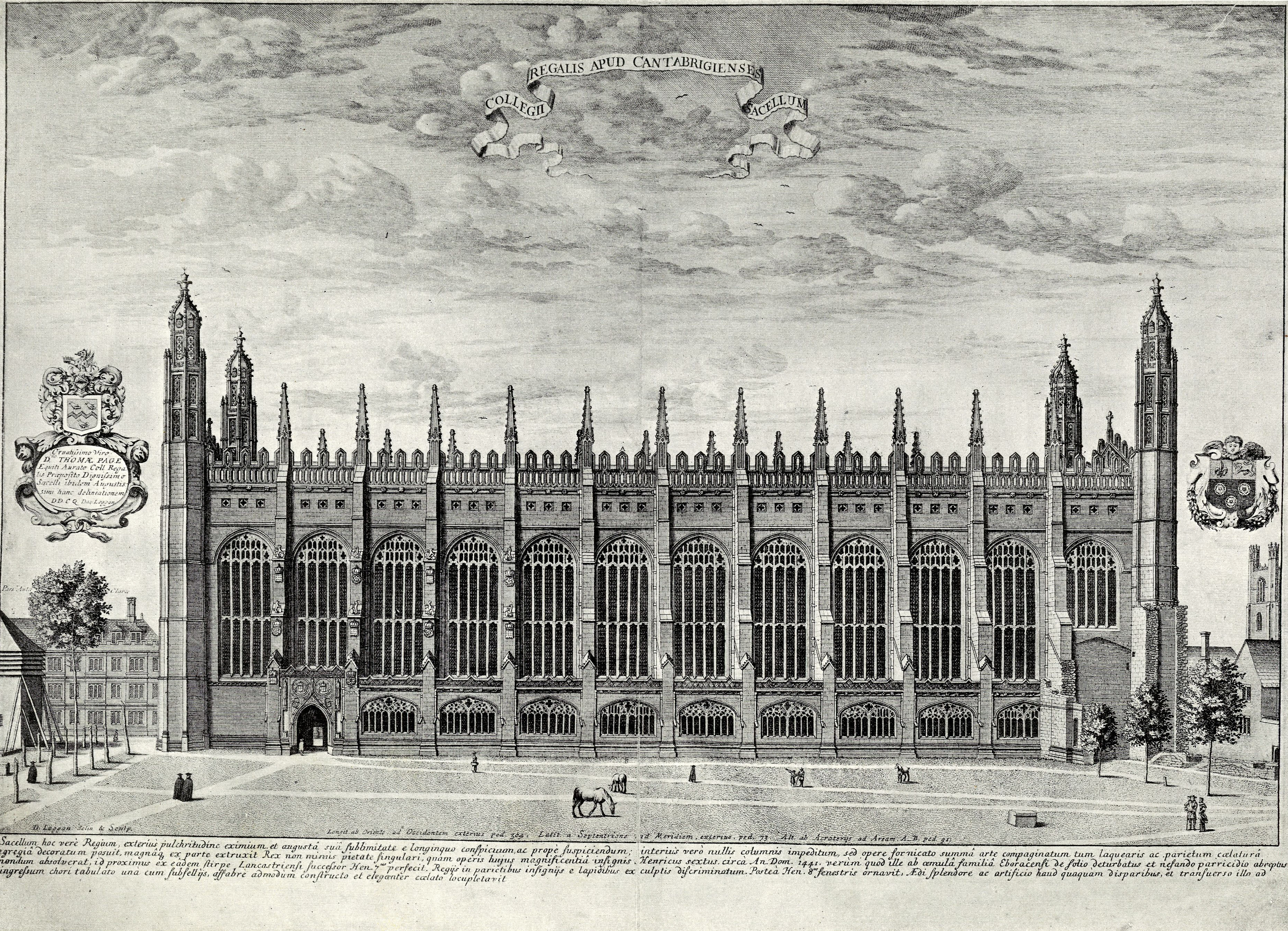 Loggan's engraving of the south front of the Chapel.