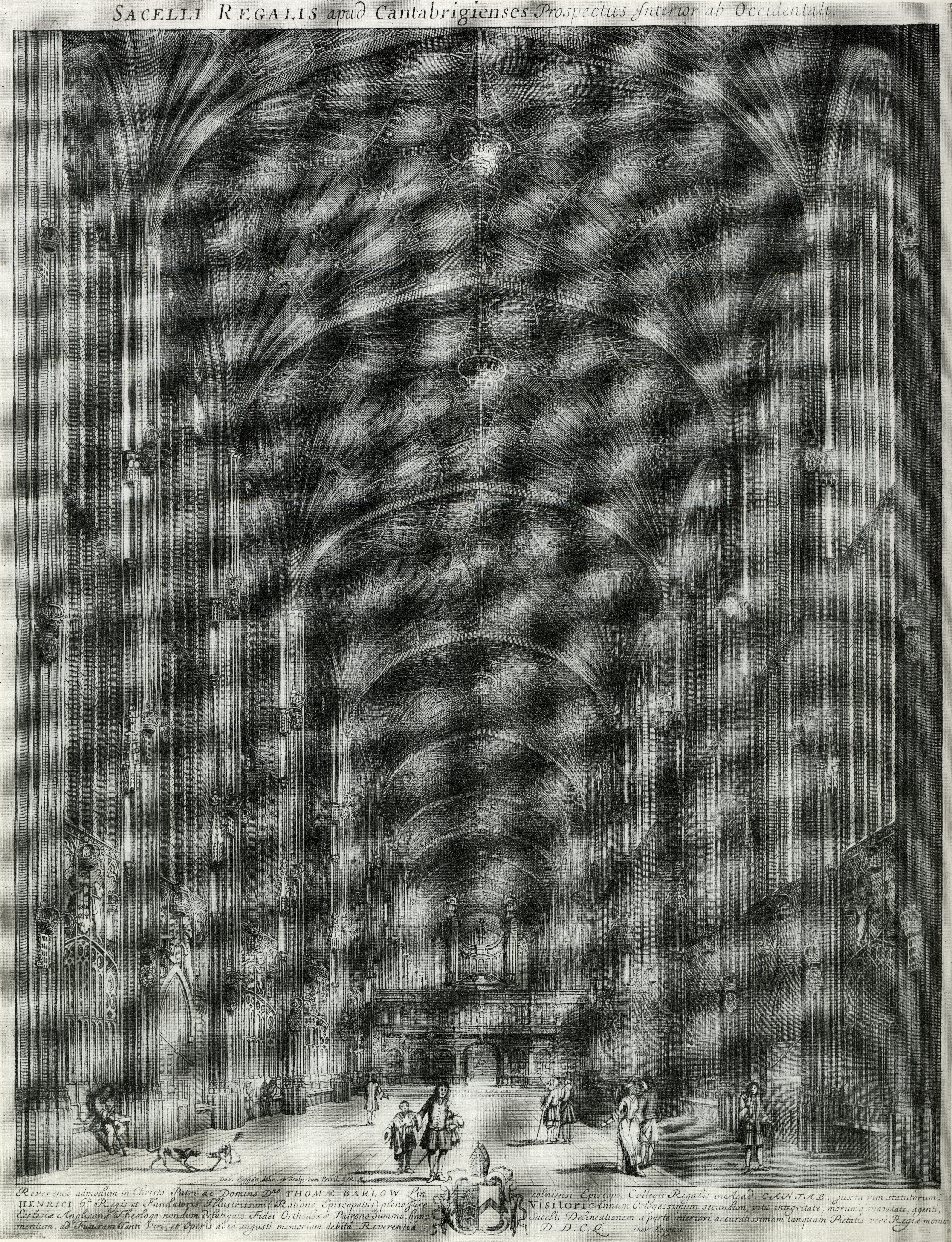 The organ case c. 1690 had angels. David Loggan, Cantabrigia Illustrata (Shelfmark: NW CU VAE Log)