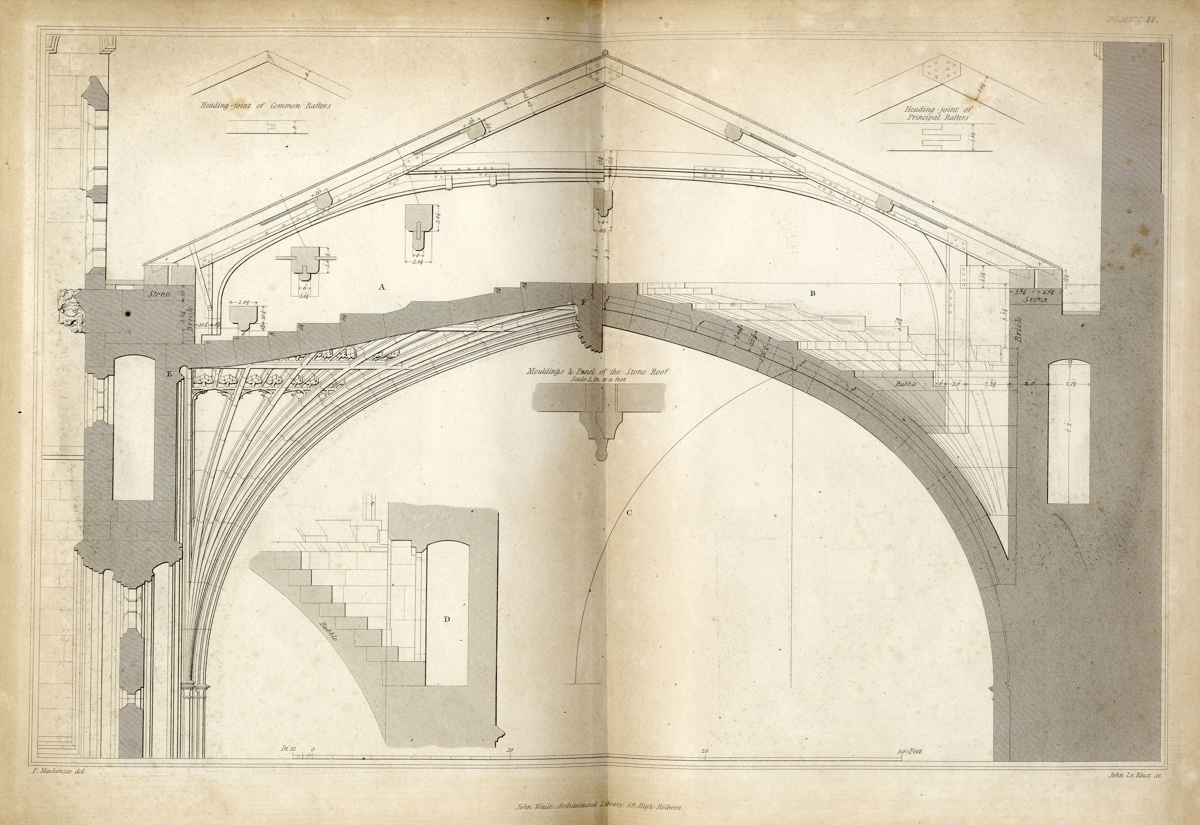 Diagram showing a section of the vault, roof and passages. [MacKenzie plate 2]