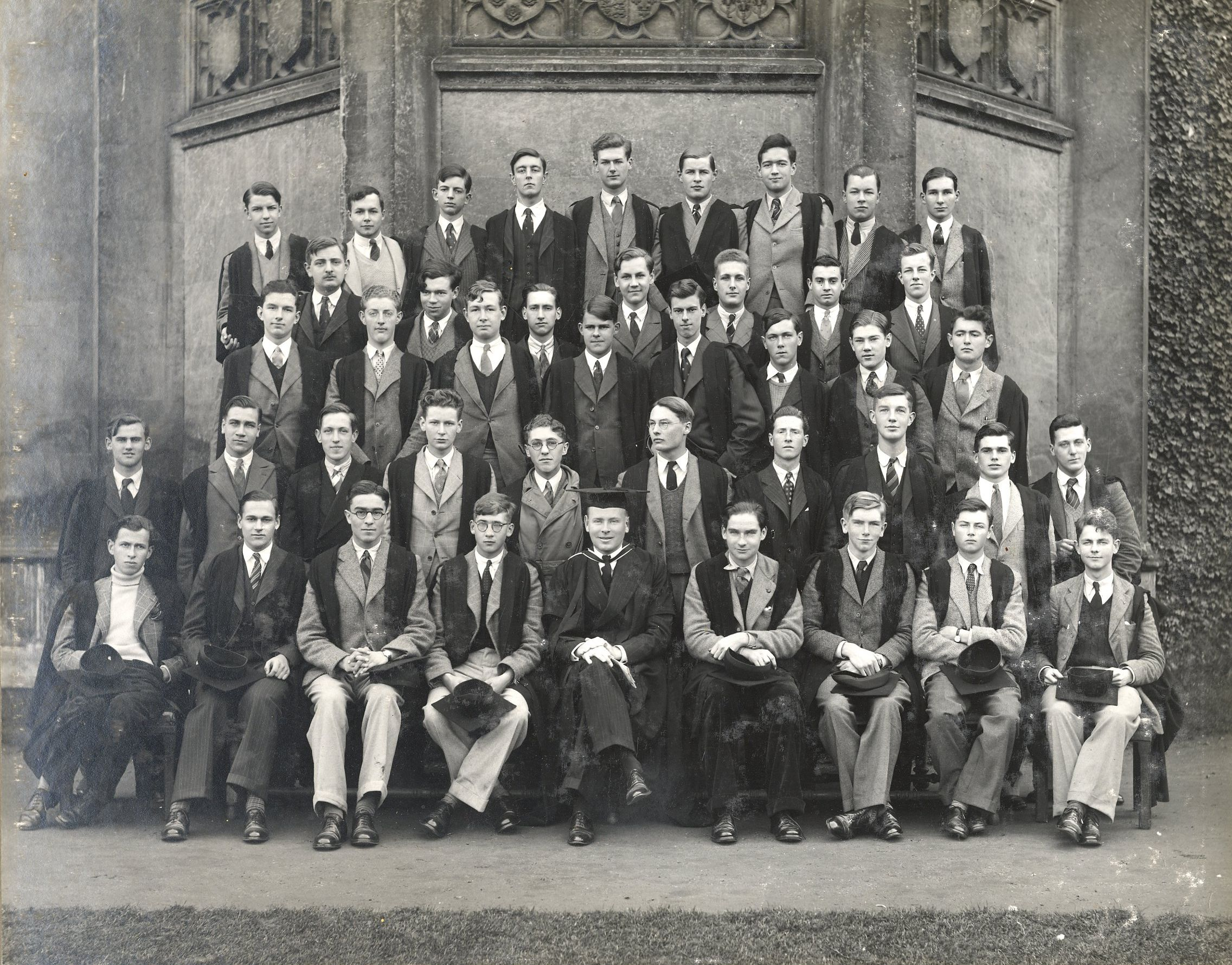 Matriculation, October 1940, Rylands appears in the middle of the front row. [KCAC/1/3/6/1]
