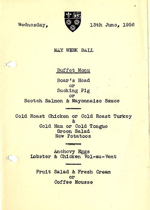 1956 May Ball menu.