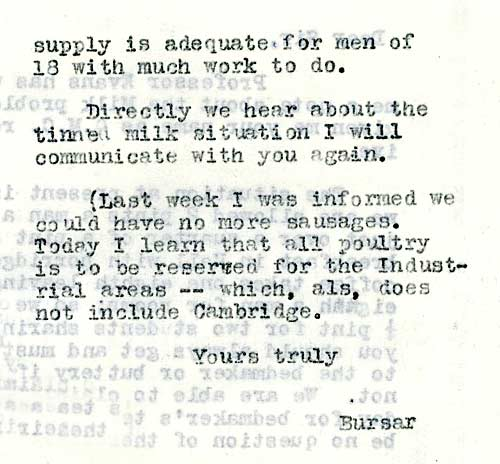 The Bursar writes to request more milk for the College