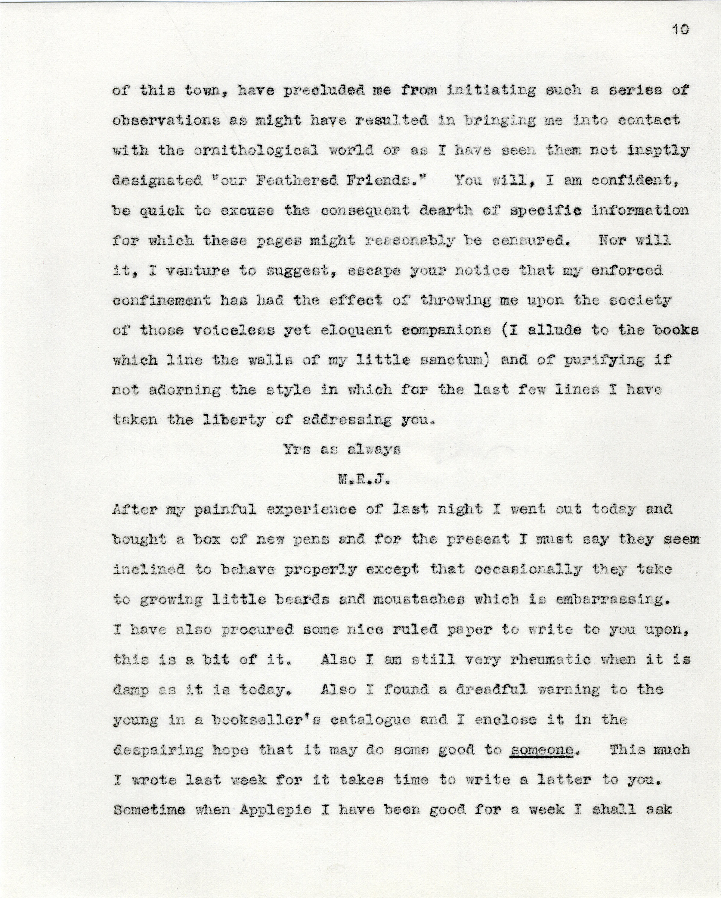 Third page of a transcript of a letter from MR James to Sibyl Cropper, 1903. (Misc. 19/11)
