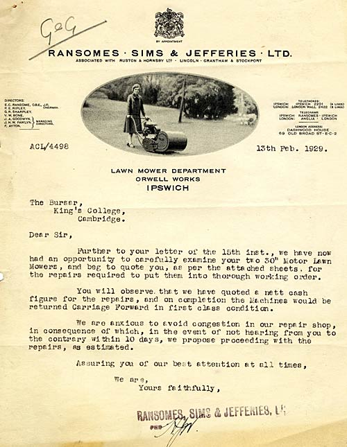 Invoice for automatic mower repairs, 1929