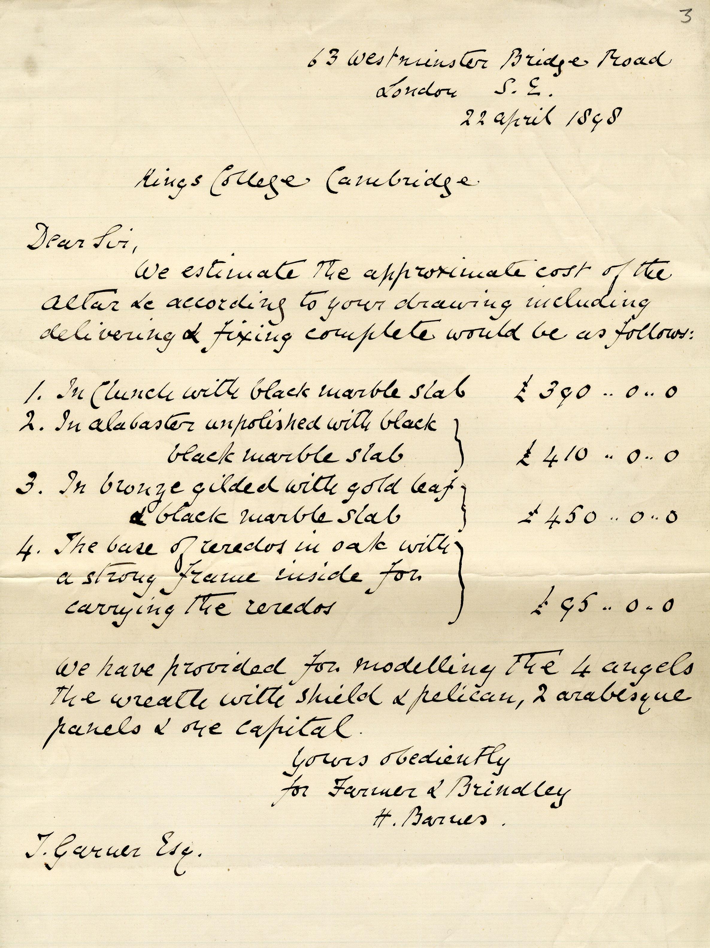 Estimate for the cost of creating Garner's altar, 1898. (MRJ/C/2)