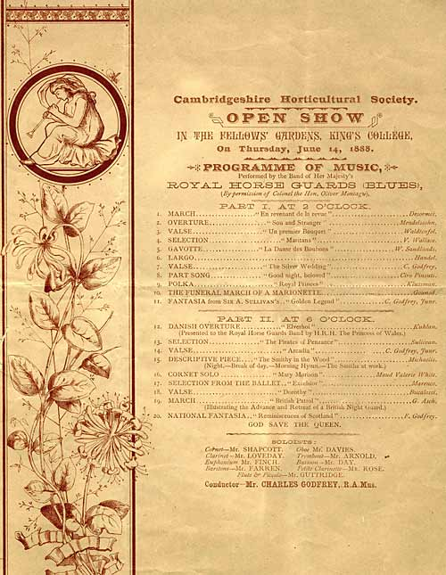 Programme for a music festival in garden, 1885