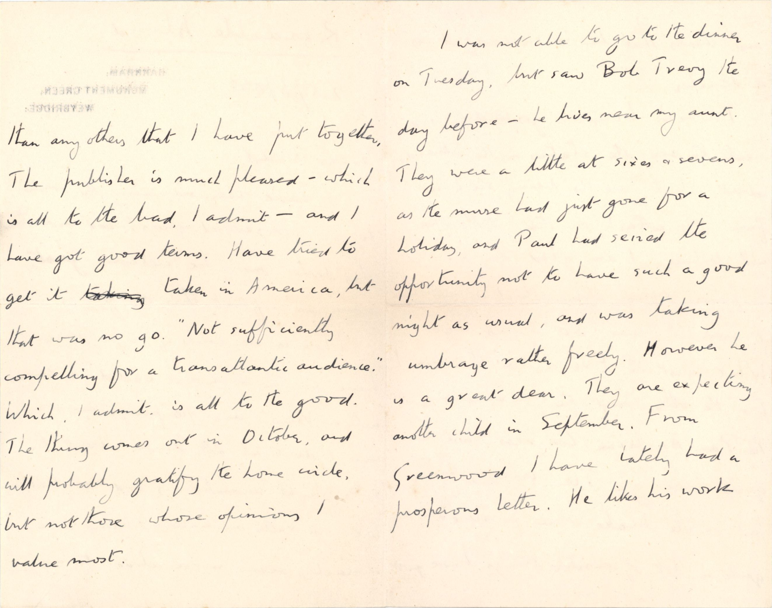Continuation of the letter from Forster to his old tutor Nathaniel Wedd. [NW/2/25]