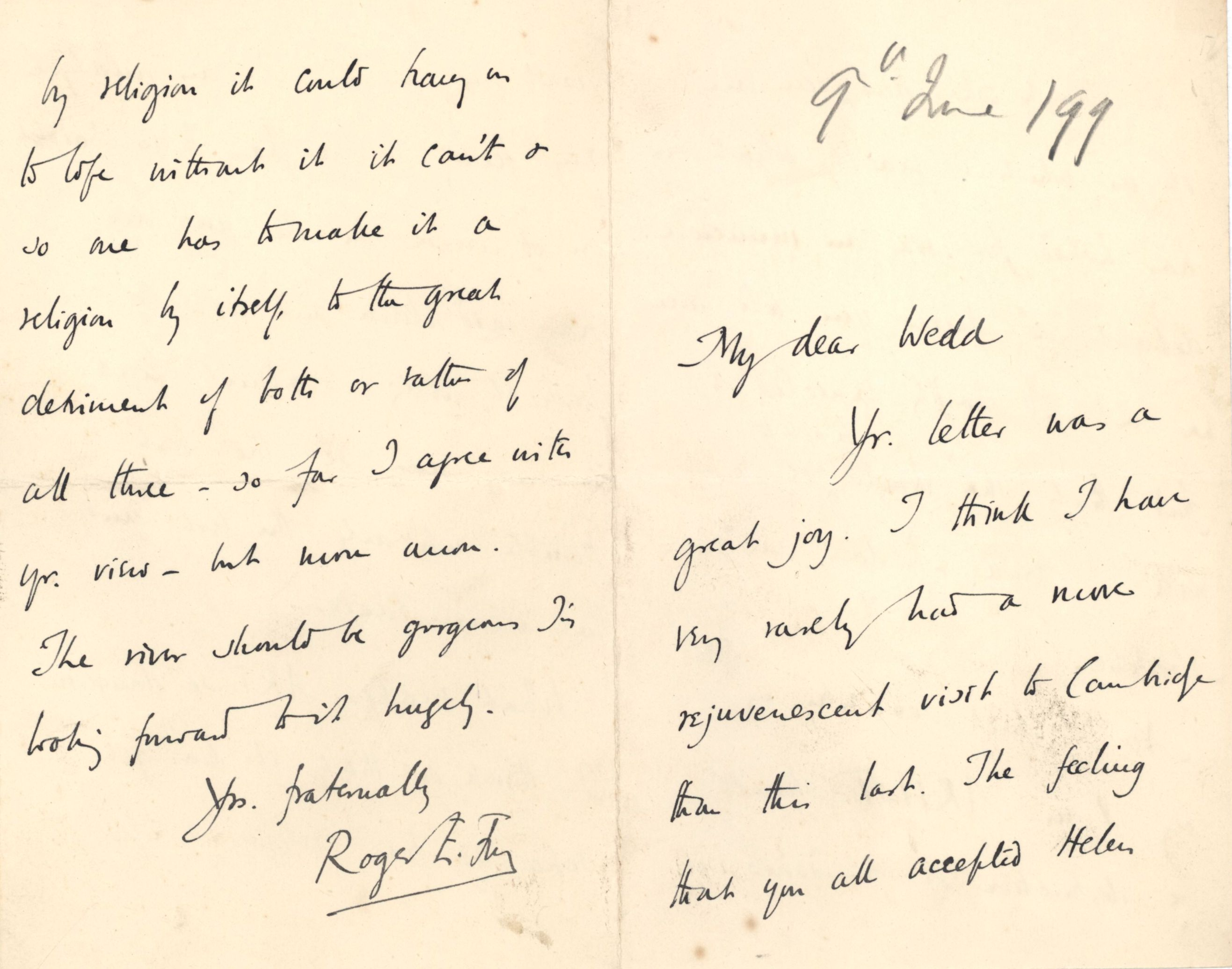 Letter from Roger Fry to Nathaniel Wedd, 9 June 1899, concerning art's relationship with life and religion. [NW/2/27]