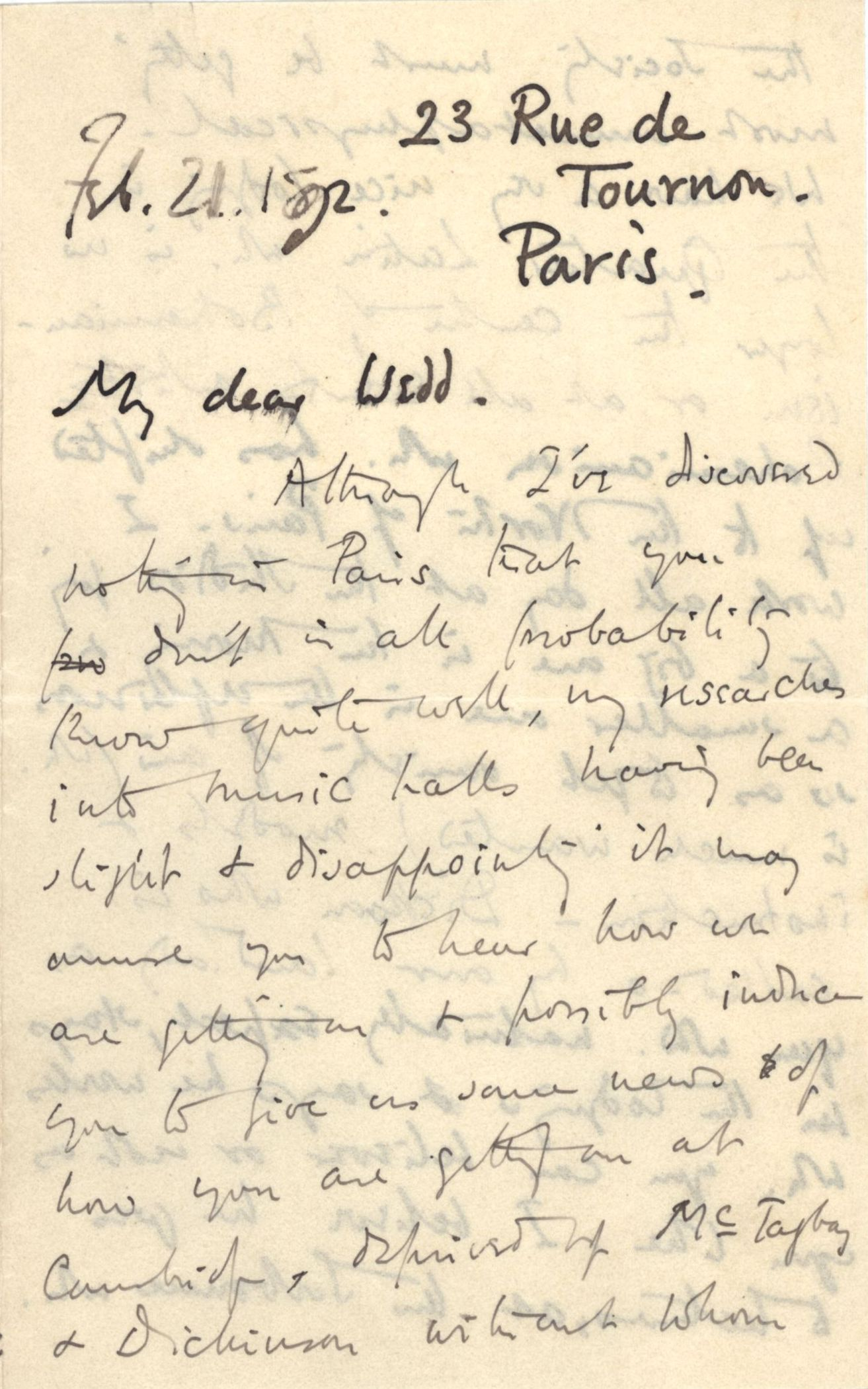 First page of a letter from Roger Fry to Nathaniel Wedd, referring to Apostles becoming 'unmetaphysical' without McTaggart and Dickinson. [NW/2/27, 21 February 1892]