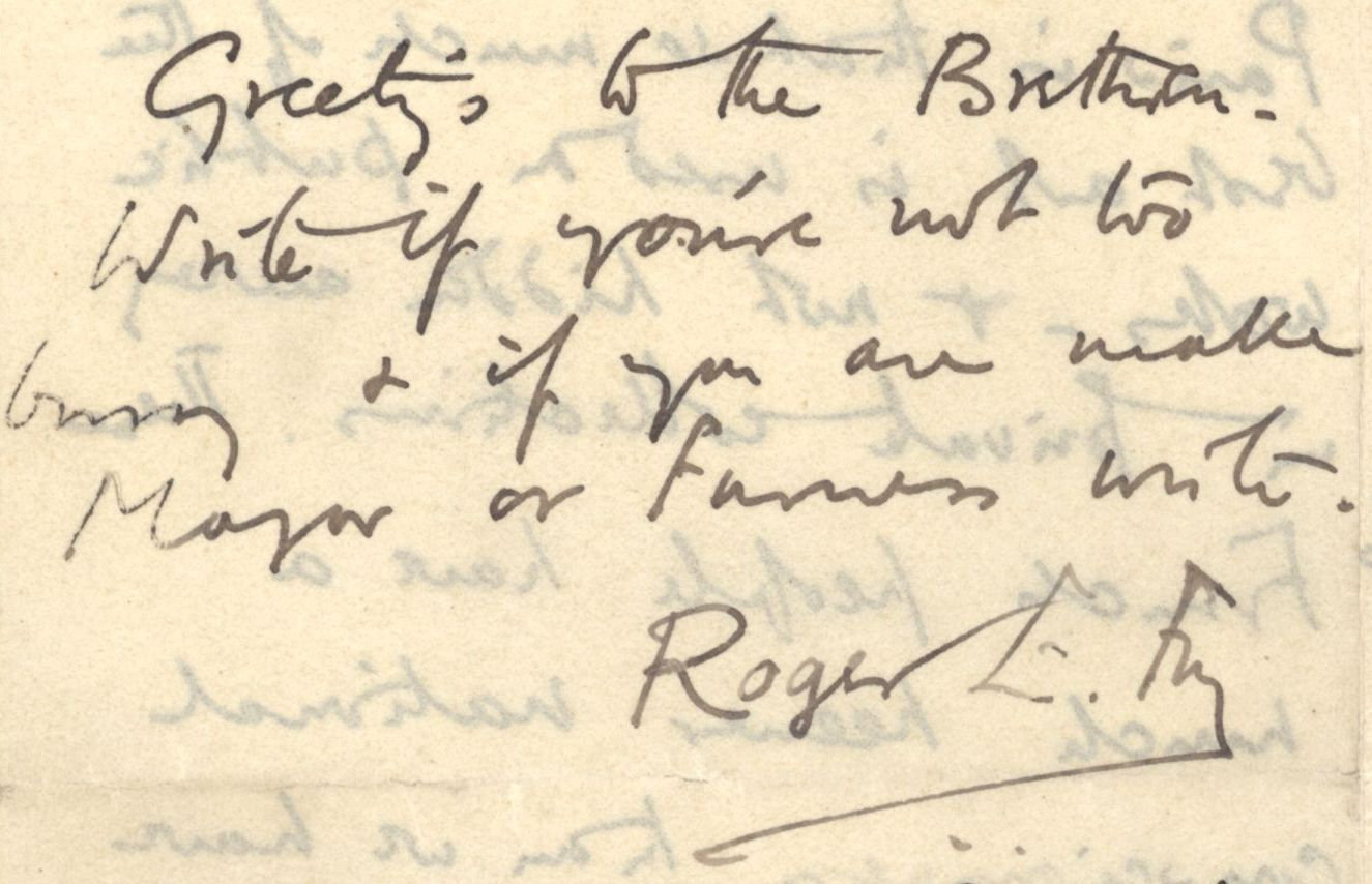 End of a letter from Roger Fry to Nathaniel Wedd, sending 'Greetings to the Brethren'. [NW/2/27, 21 February 1892]