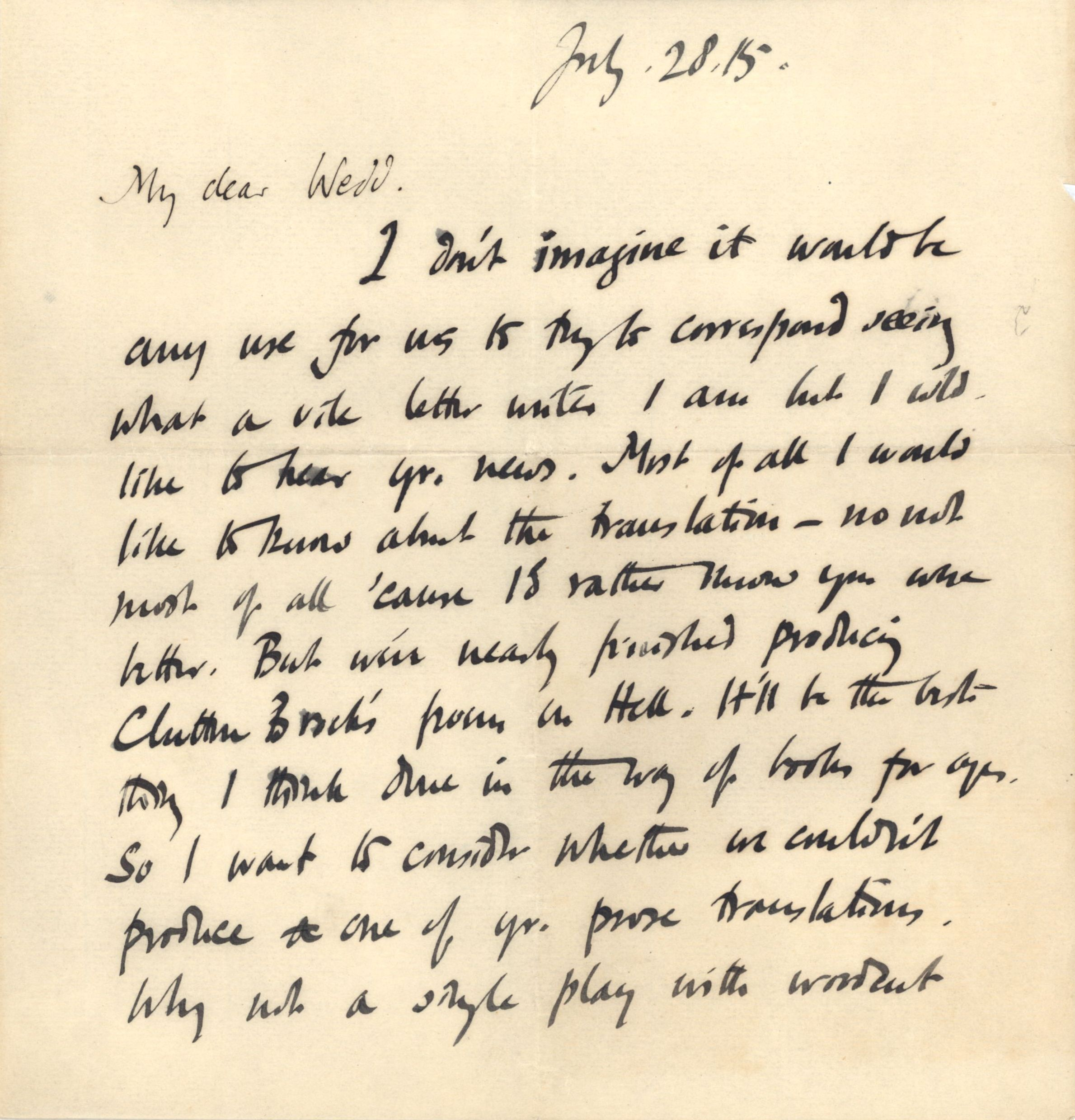 First page of a letter from Roger Fry to Nathaniel Wedd, 28 July 1915, concerning his visit to France. [NW/2/27 - Omega letterhead removed]