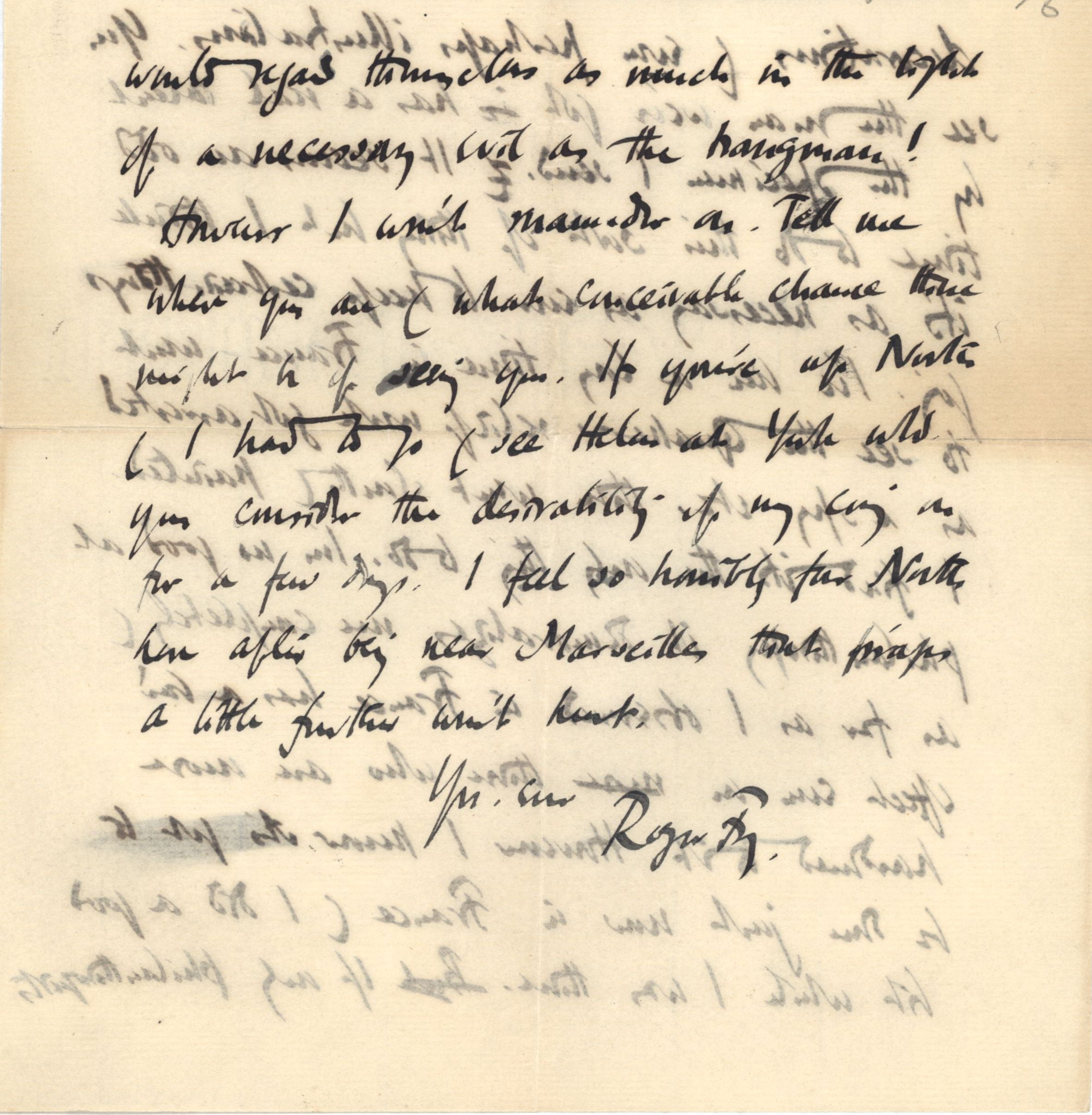 Third page of a letter from Roger Fry to Nathaniel Wedd, 28 July 1915, concerning his visit to France. [NW/2/27 - Omega letterhead removed]
