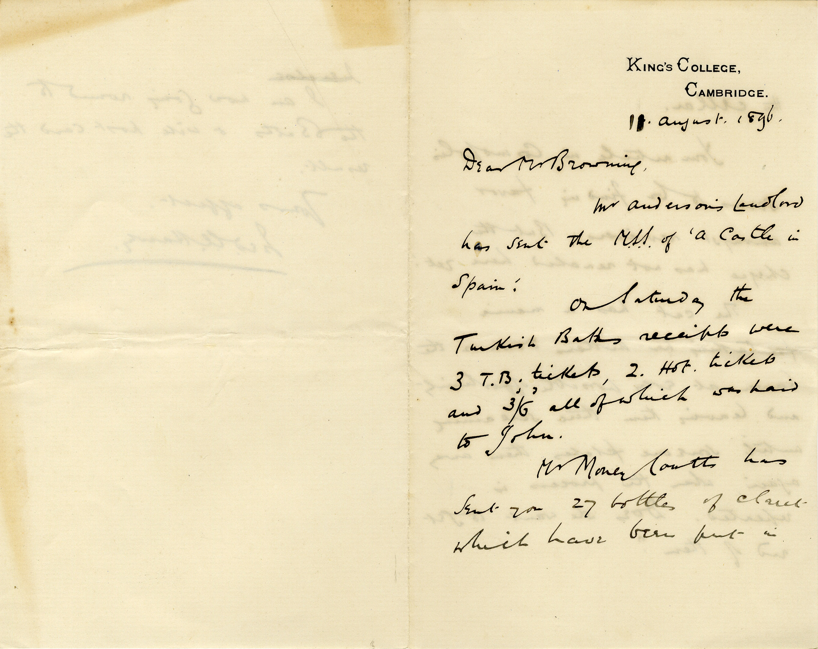First page of a letter from Fred Harvey to Oscar Browning, August 1896. (OB/1/751)