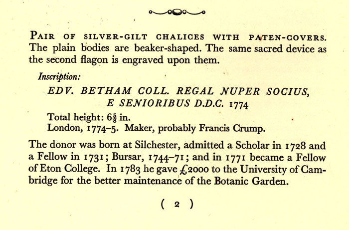 Entry in Catalogue of the Plate, Portraits and Other Pictures at King's College Cambridge, published in 1933.