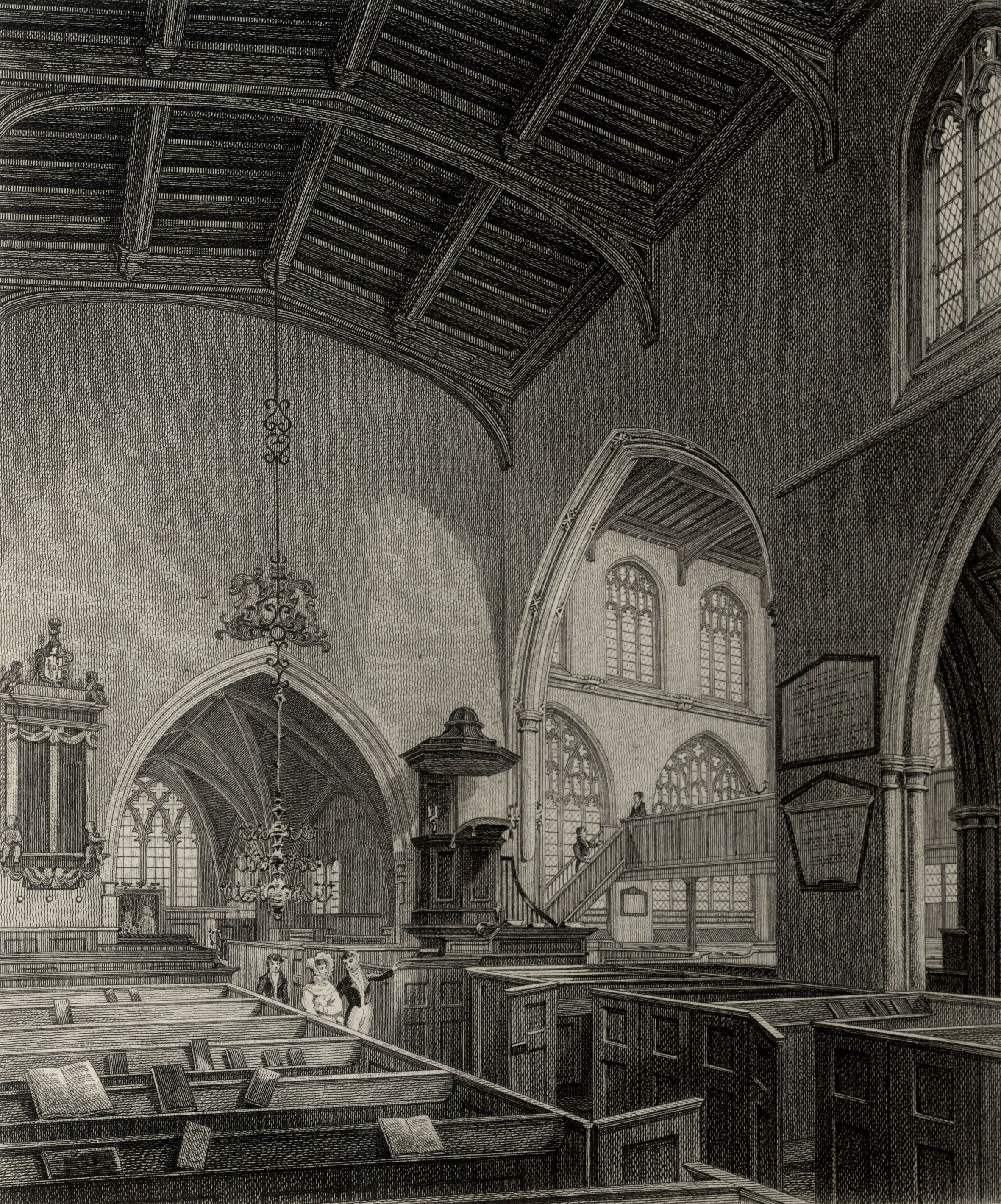 Holy Trinity church, interior. (Cooper's Memorials Trinity interior in Simeon's time vol 3 p.375)