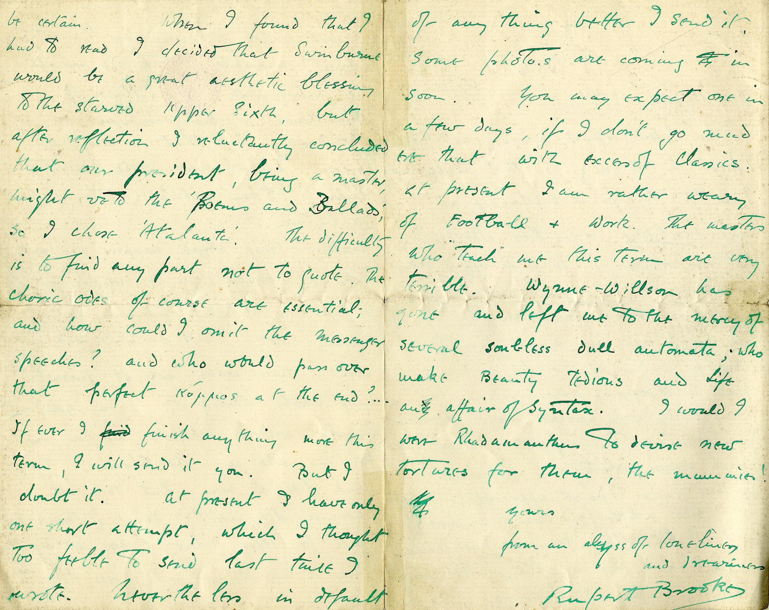 Second page of a letter from Rupert Brooke to St. John Lucas, Autumn 1905 (RCB/L/2)