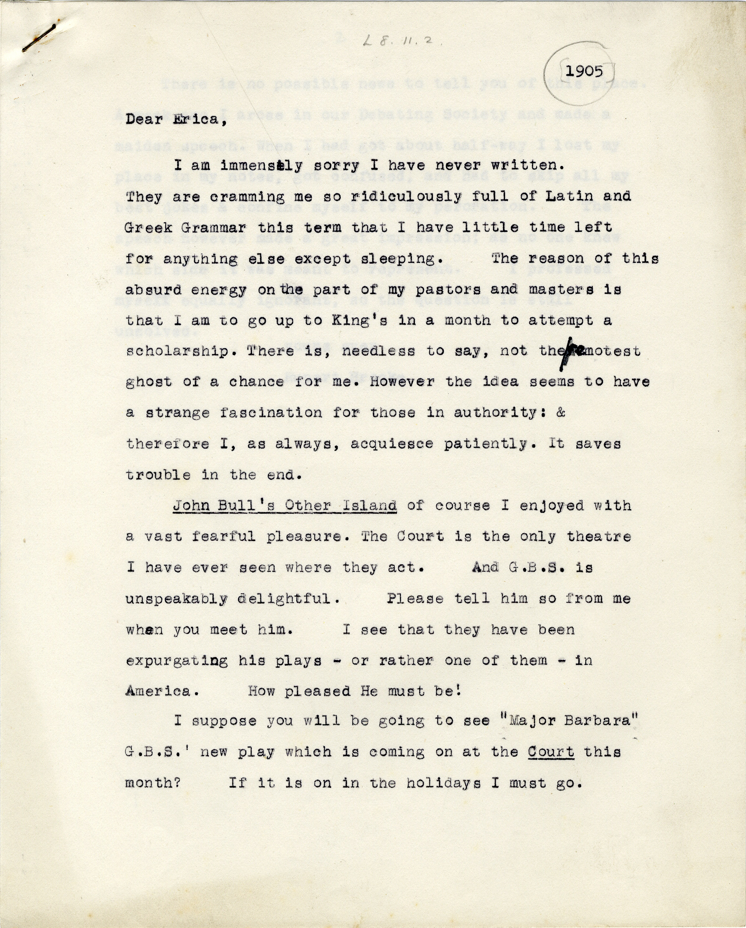 First page of a transcript of a letter from Rupert Brooke to Erica Cotterill, 1905 (RCB/L/8/11/2)