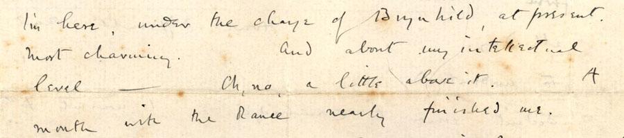 Part of a letter from Rupert Brooke to John Maynard Keynes, 10 April 1912 (RCB/L/8/25).