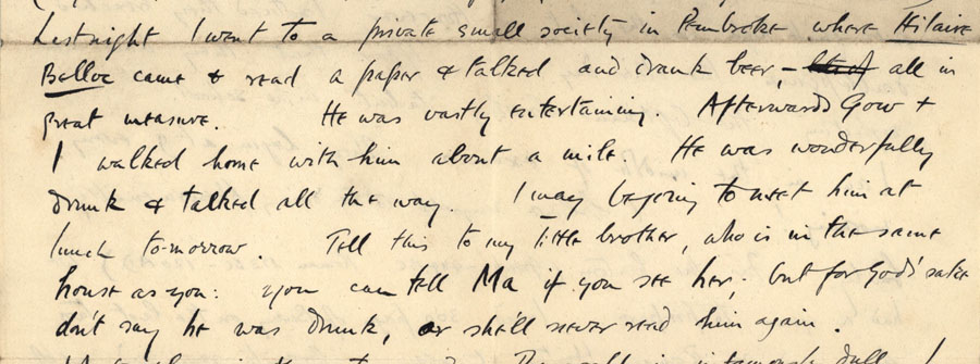 Letter from Rupert Brooke to Francis MacCunn, c. May 1907 (RCB/L/8/28).