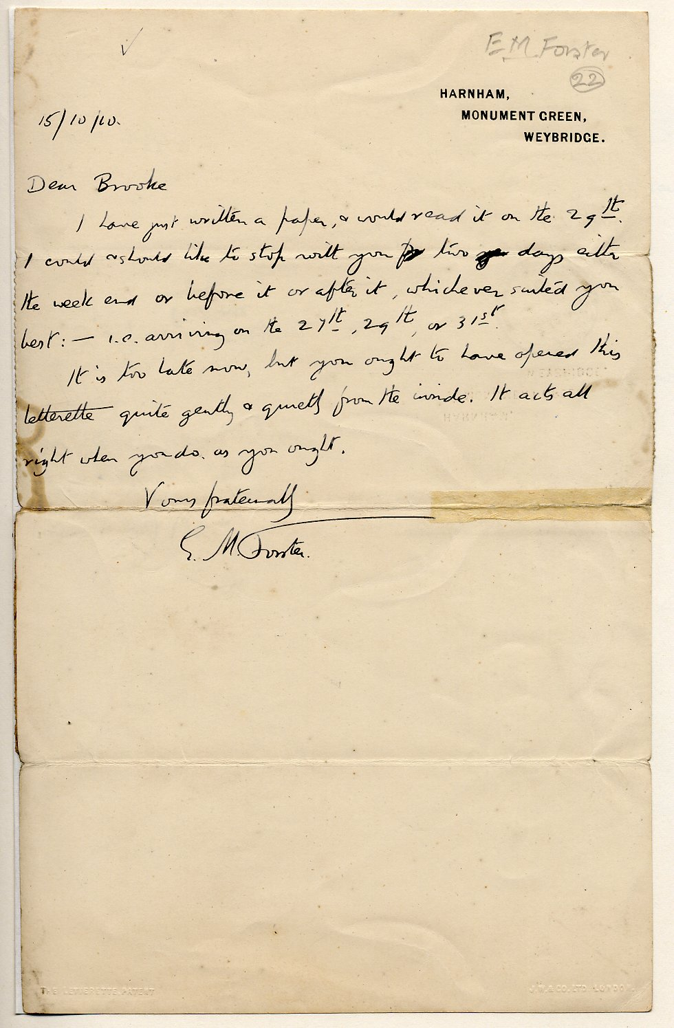 Letter from E.M. Forster to Rupert Brooke, 15 October 1910. Archive Centre, King's College, Cambridge. RCB/L/1/22