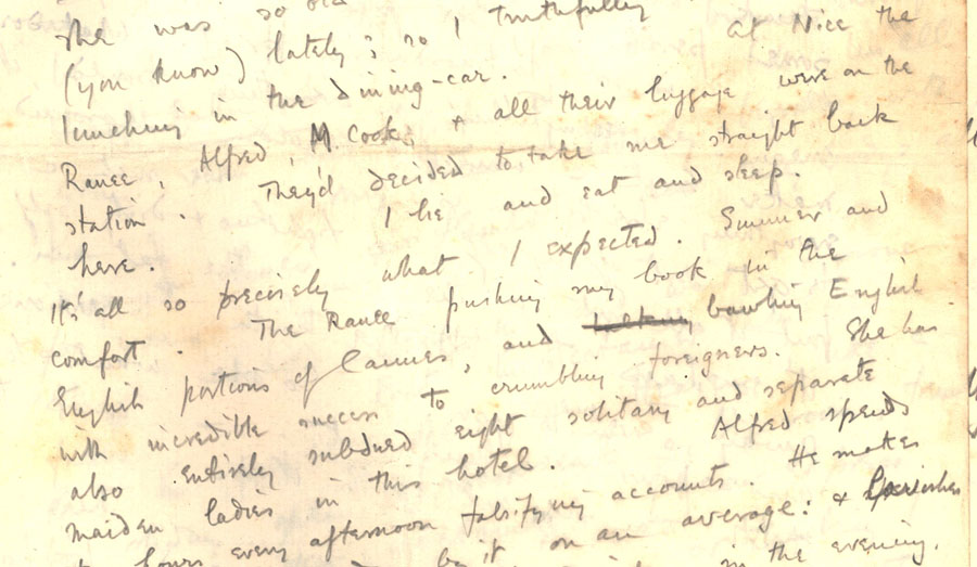Part of a letter from Rupert Brooke to 'Ka' Cox, 'Saturday morning – evening' [January 1912] (RCB/L/4, 60(a) recto).