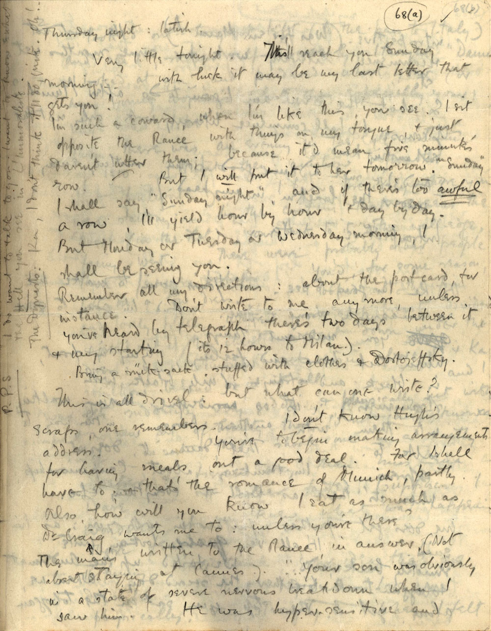 First page of a letter from Rupert Brooke to 'Ka' Cox, 'Thursday night: latish' [January 1912] (RCB/L/4, 68(a) recto).