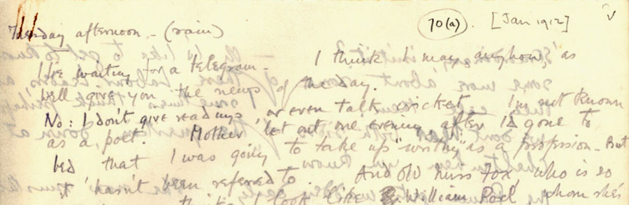 Part of a letter from Rupert Brooke to 'Ka' Cox, 'Tuesday afternoon' [January 1912] (RCB/L/4, 70(a) recto).