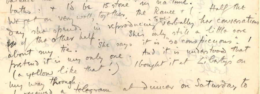 Part of a letter from Rupert Brooke to 'Ka' Cox, 'Monday: nachmittag' [January 1912] (RCB/L/4, 77(b) verso).
