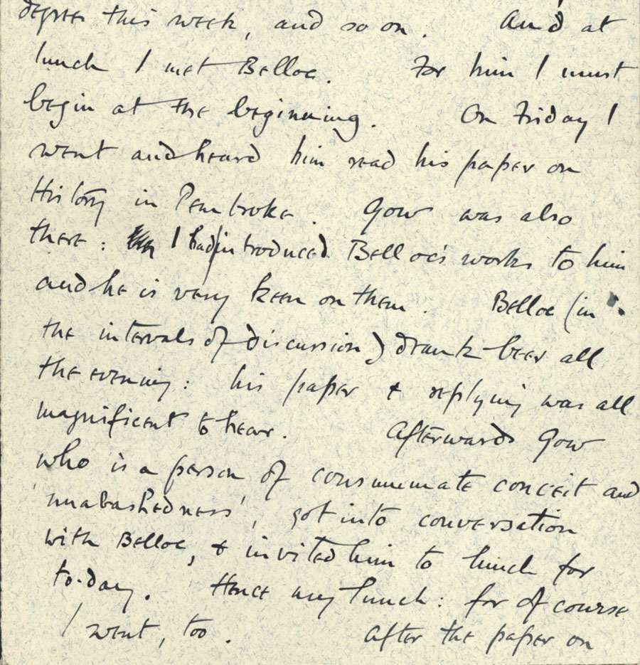 Letter from Rupert Brooke to his mother, 2 June 1907 (RCB/L/6/3).