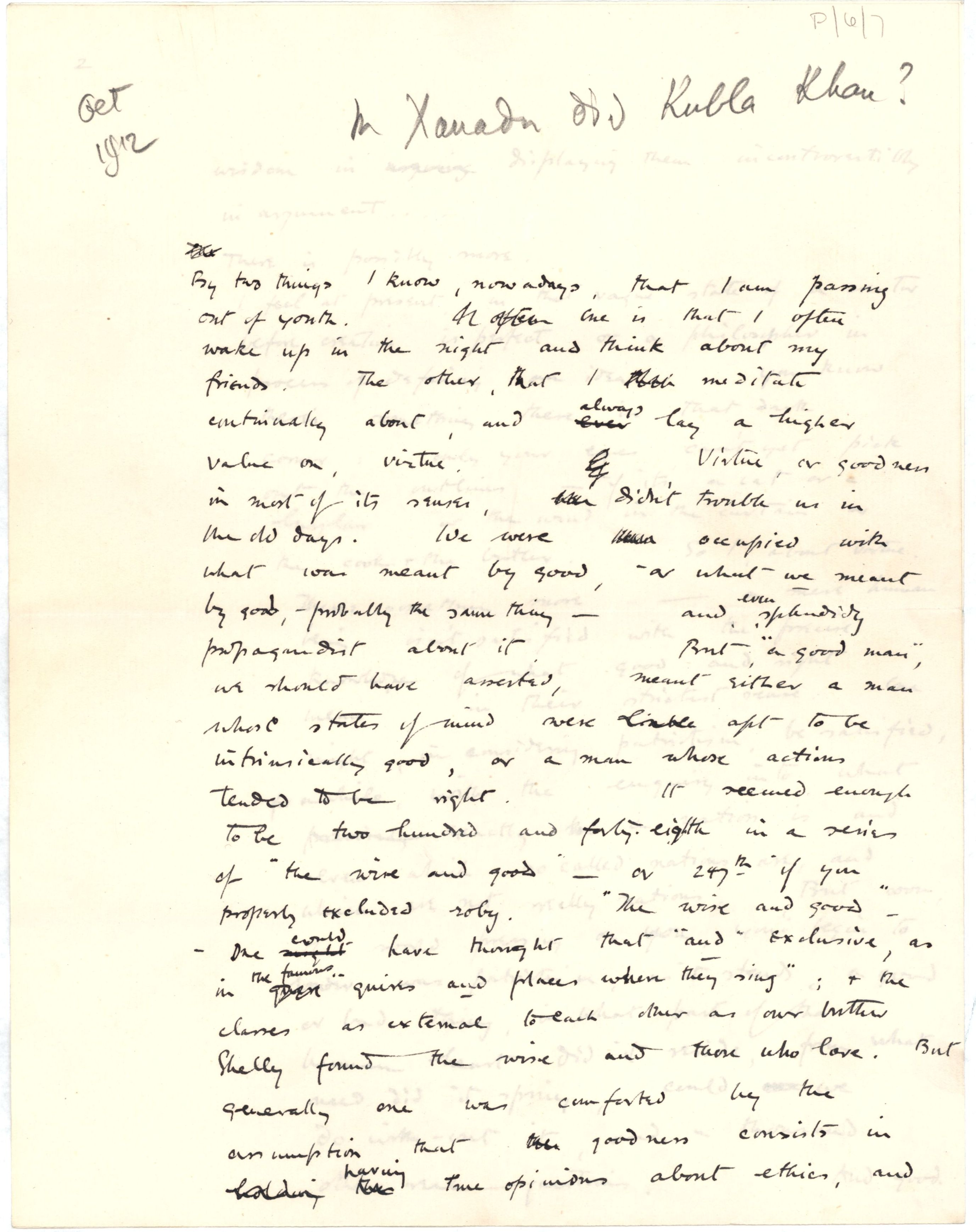 First page of 'In Xanadu did Kubla Khan?', a paper read by Brooke to the Apostles in October 1912. [RCB/P/6/7]