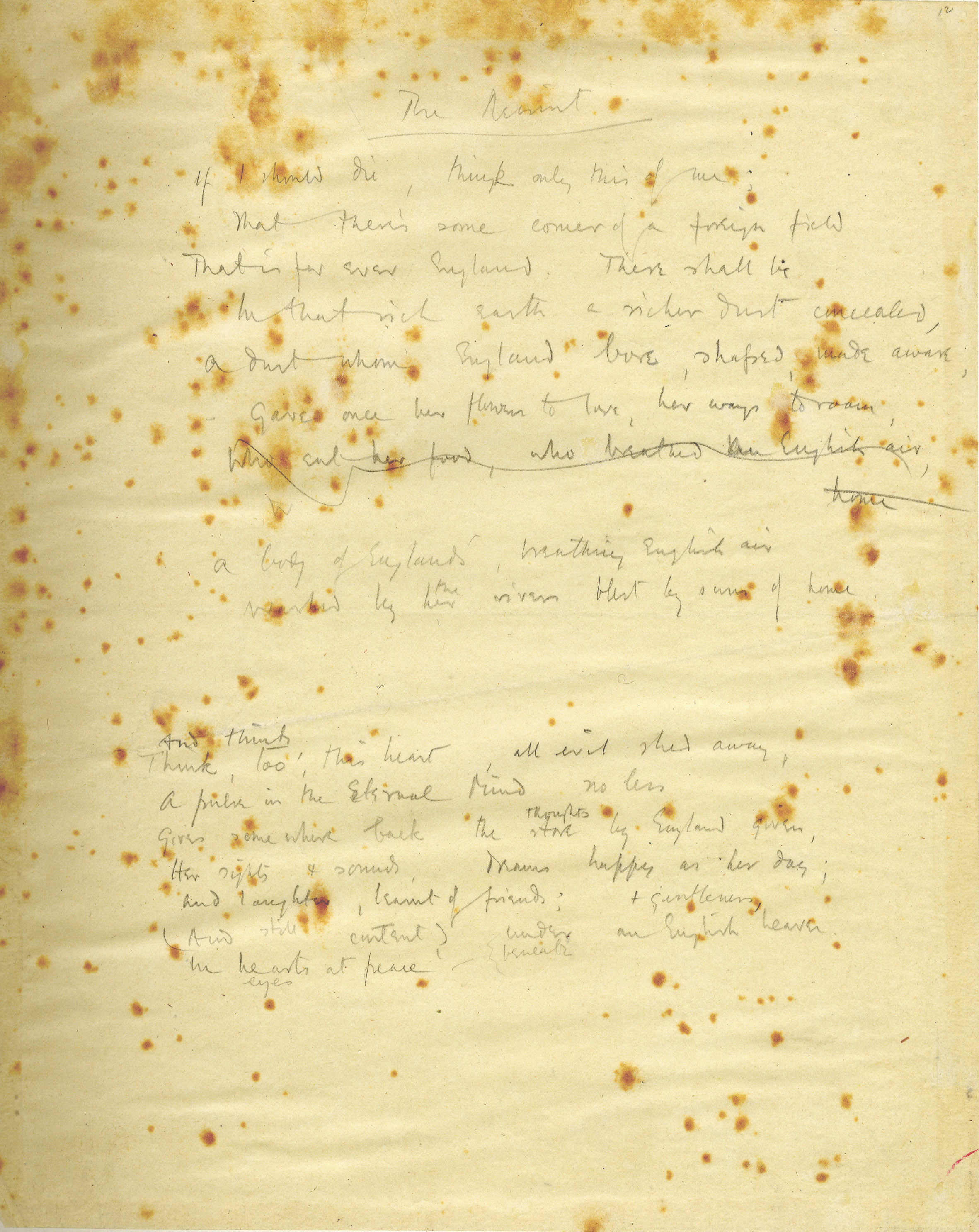 An early draft of Rupert Brooke's poem 'The Soldier', entitled 'The Recruit' (RCB/V/1/16)
