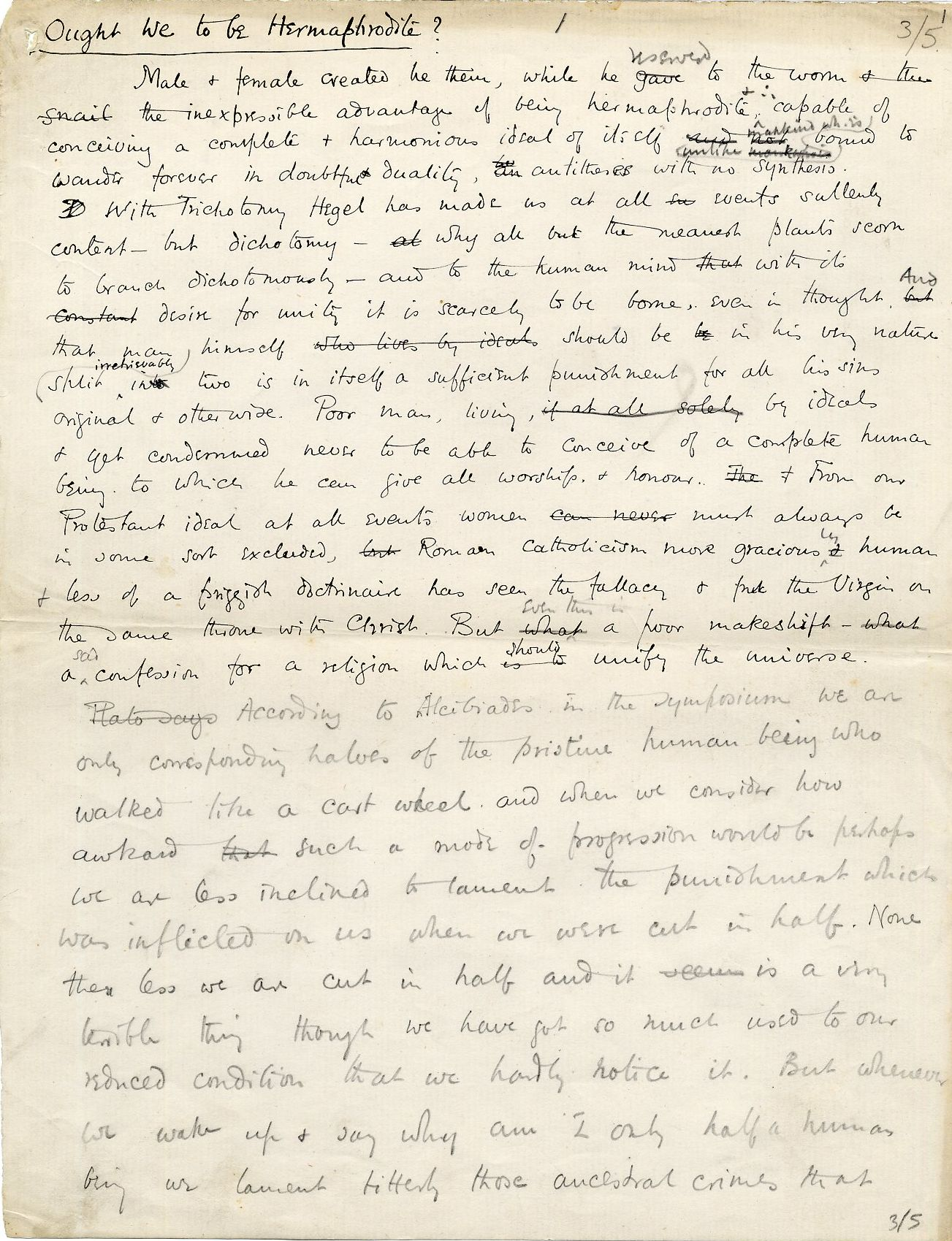 First page of 'Ought we to be Hermaphrodite?', undated Apostles paper read by Fry. [REF/1/10]