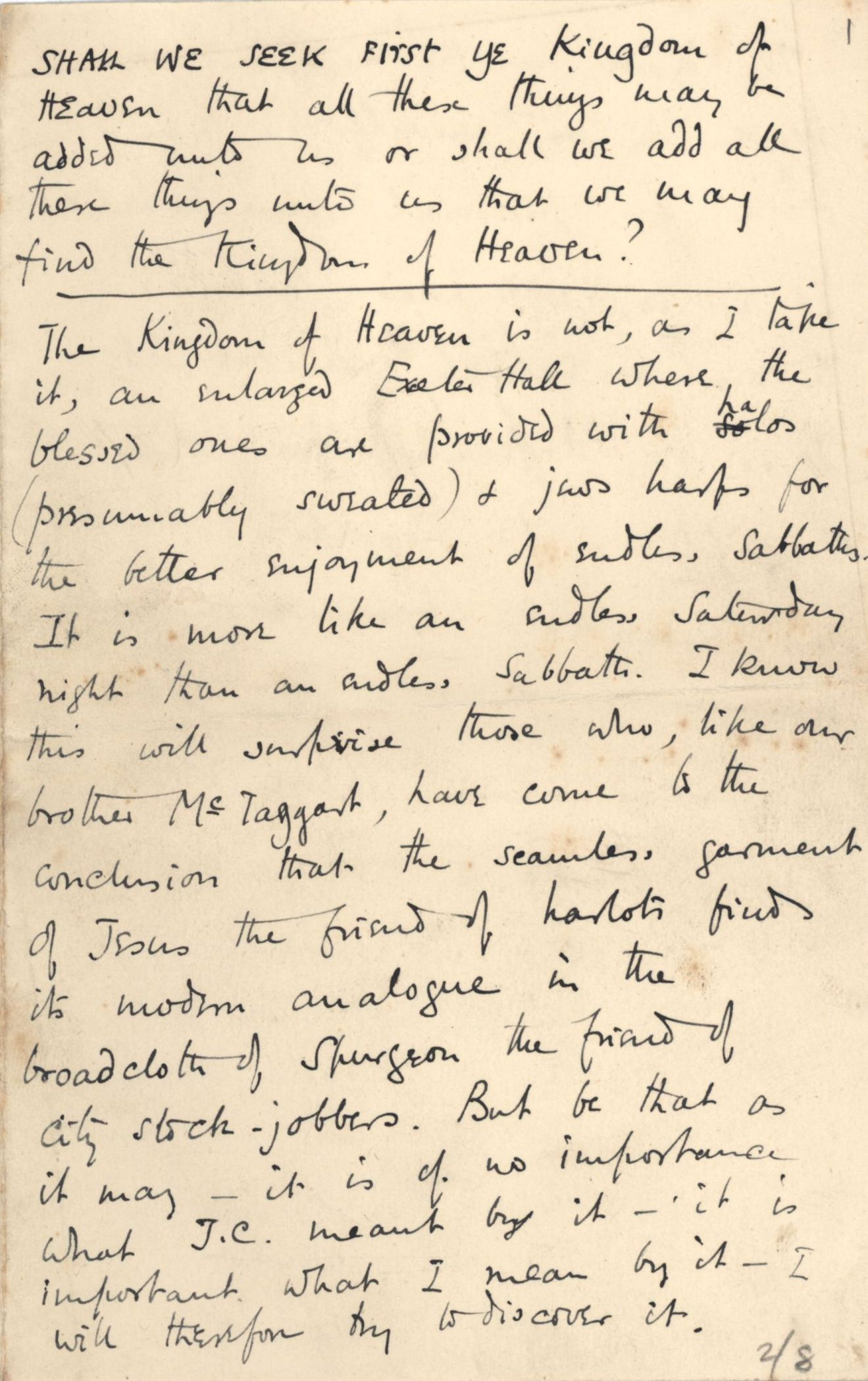 First page of 'Shall we seek first ye kingdom of heaven…?', read by Fry in March 1898. [REF/1/10]